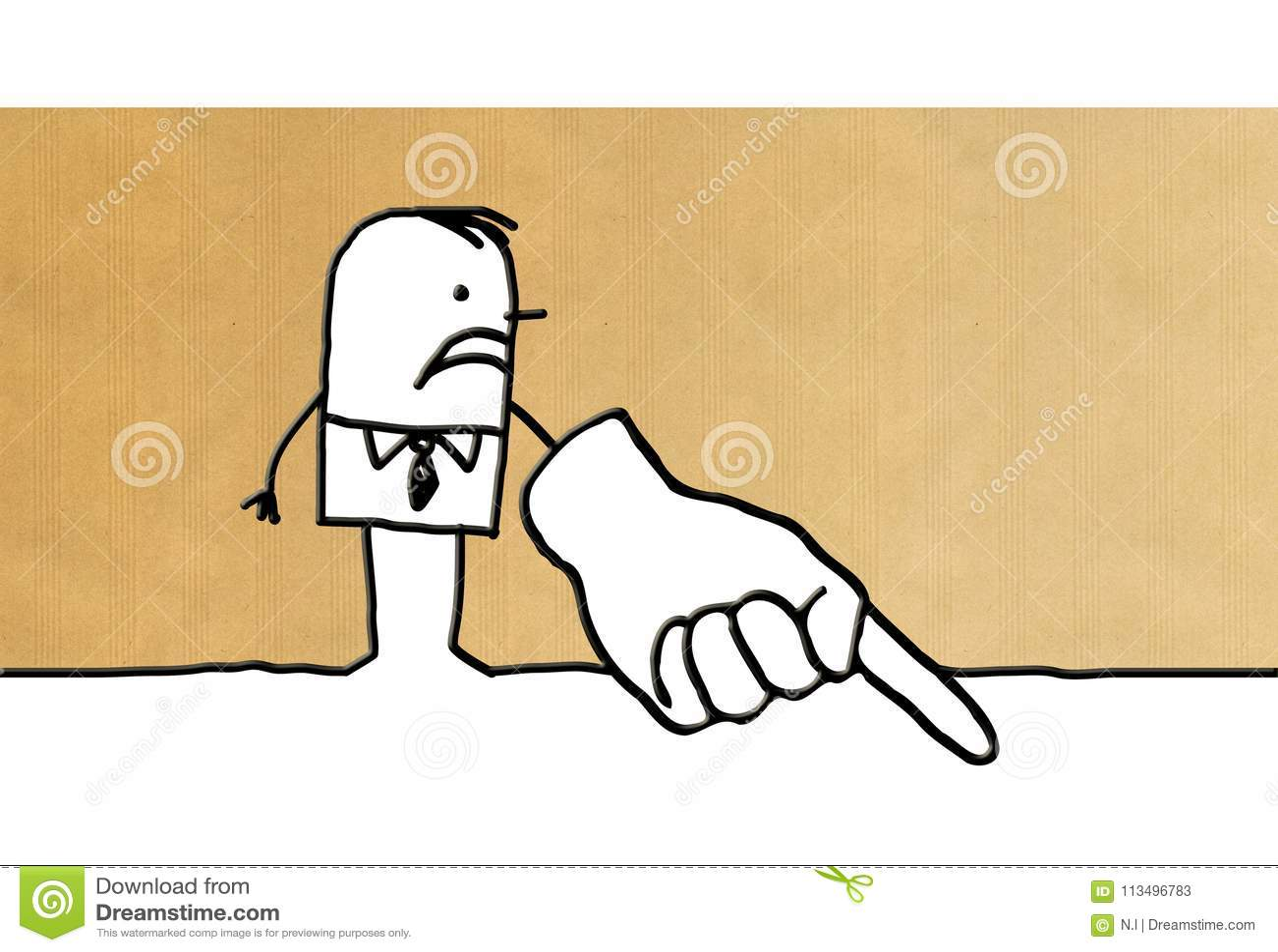 Karikaturgeschäftsmann, der unten Finger zeigt