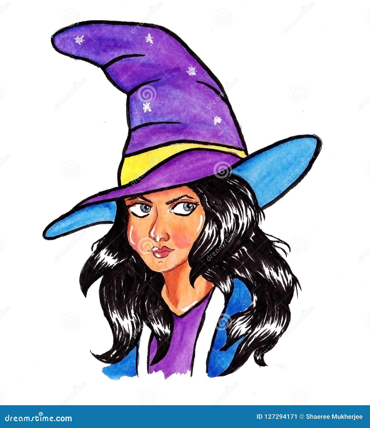 Karikaturhexenhalloween-Aquarellmalerei