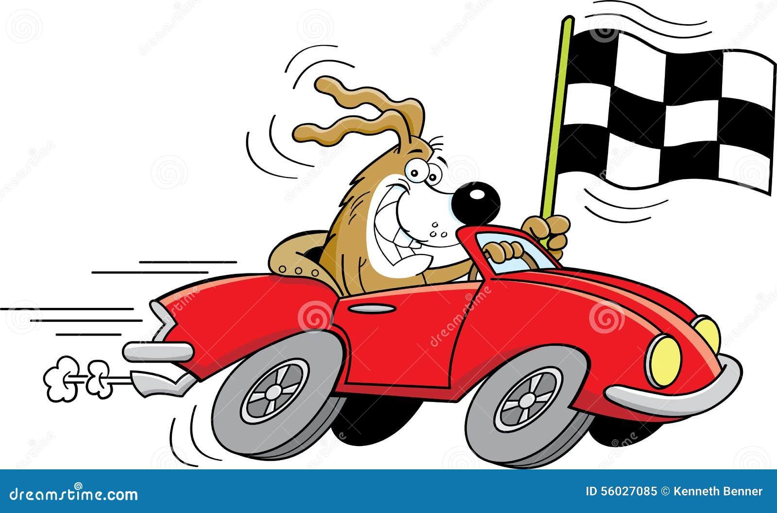 karikaturhund in einem auto das eine zielflagge wellenartig bewegt vektor abbildung bild. Black Bedroom Furniture Sets. Home Design Ideas
