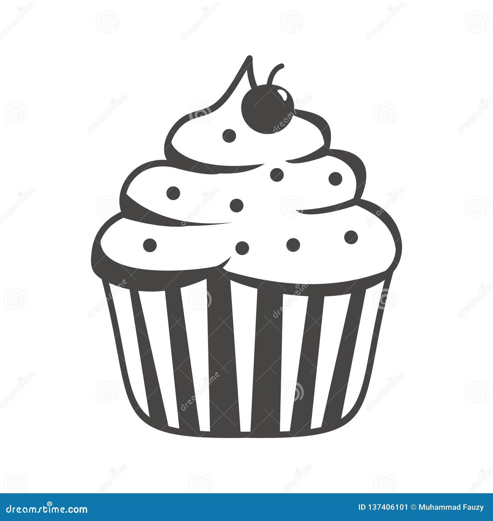 Karikaturillustration des kleinen Kuchens mit Schwarzweiss-Farbe