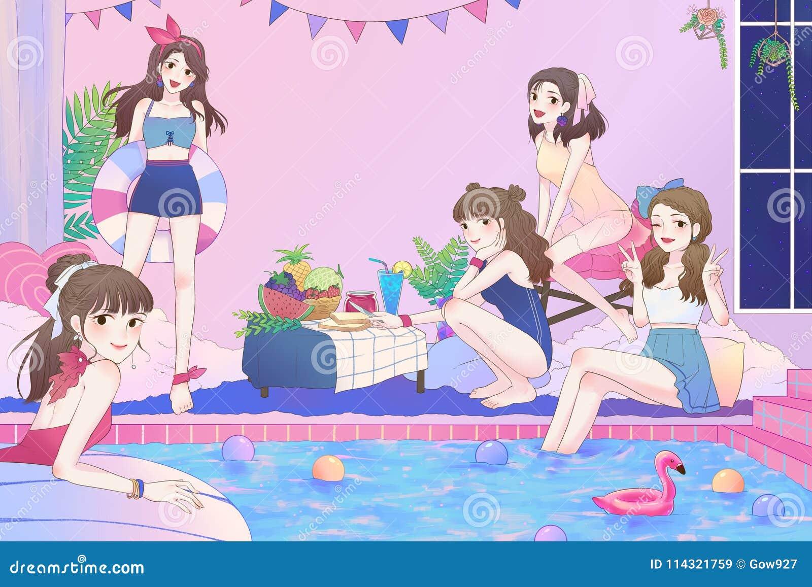 Karikaturillustration von 5 netten asiatischen jugendlich Mädchen, die Spaß haben und von Pool-Party im Großen Badezimmer mit Bad