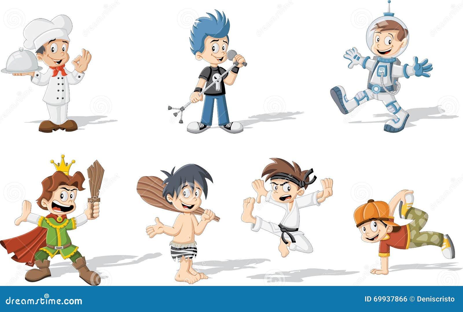 Karikaturjungen, die verschiedene Kostüme tragen