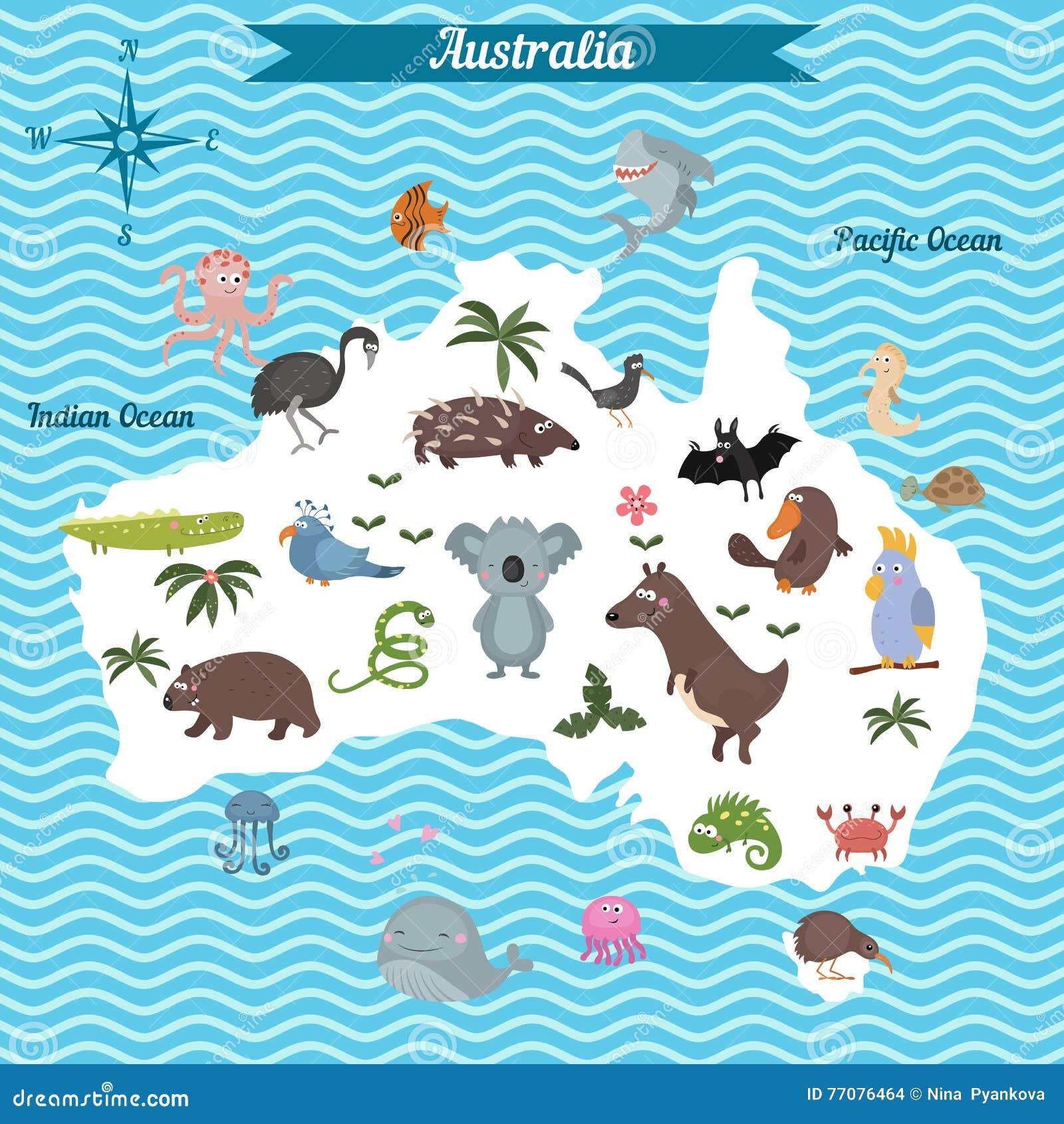 Karikaturkarte Von Australien-Kontinent Mit Verschiedenen Tieren ...