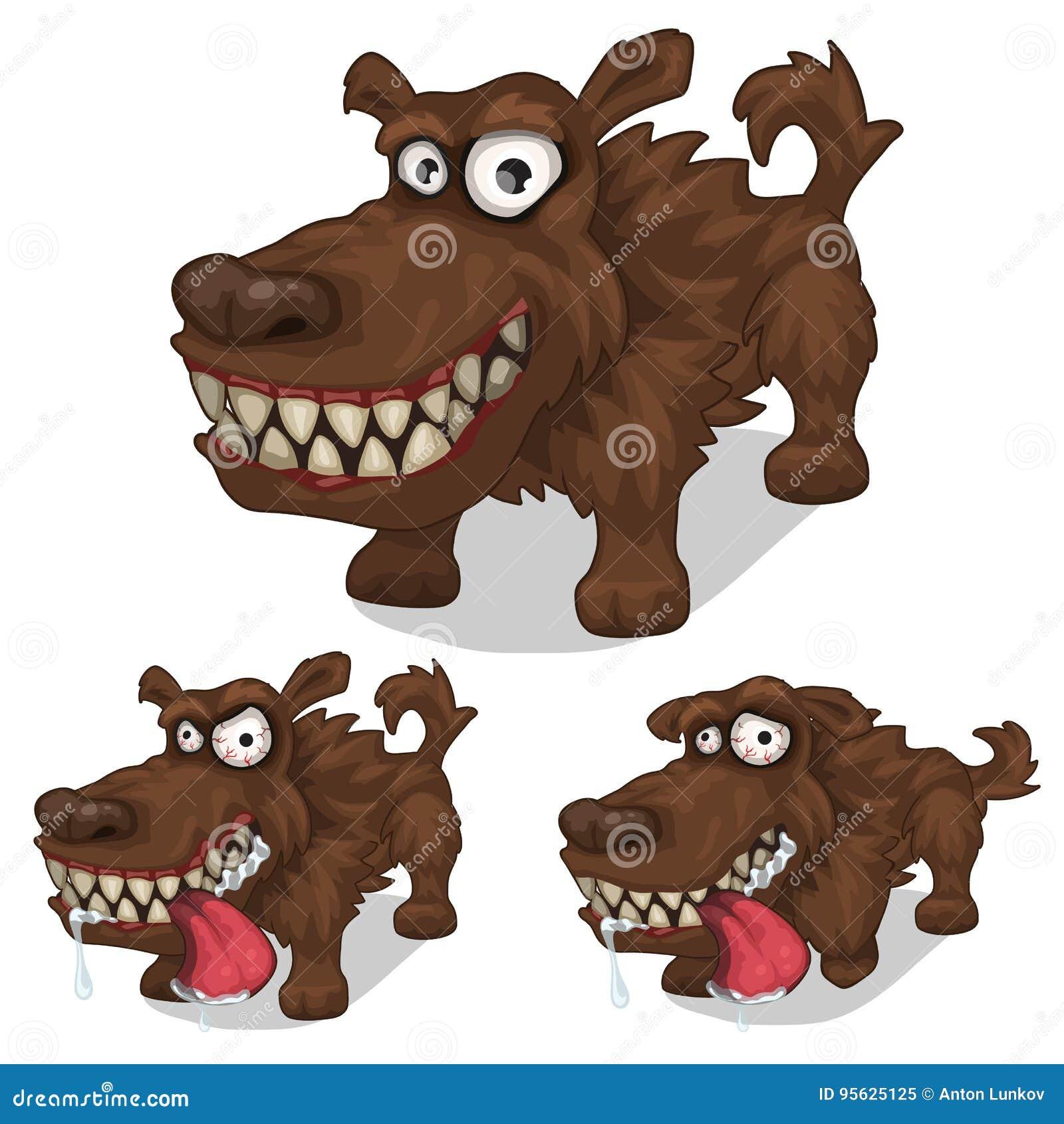 Karikaturlächeln Und Tollwütiger Hund Vektorhaustier Vektor