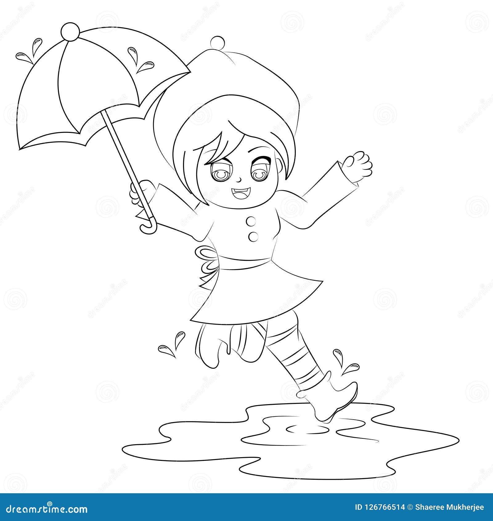 Karikaturmädchen, das in Pfützenfarbtonseite springt