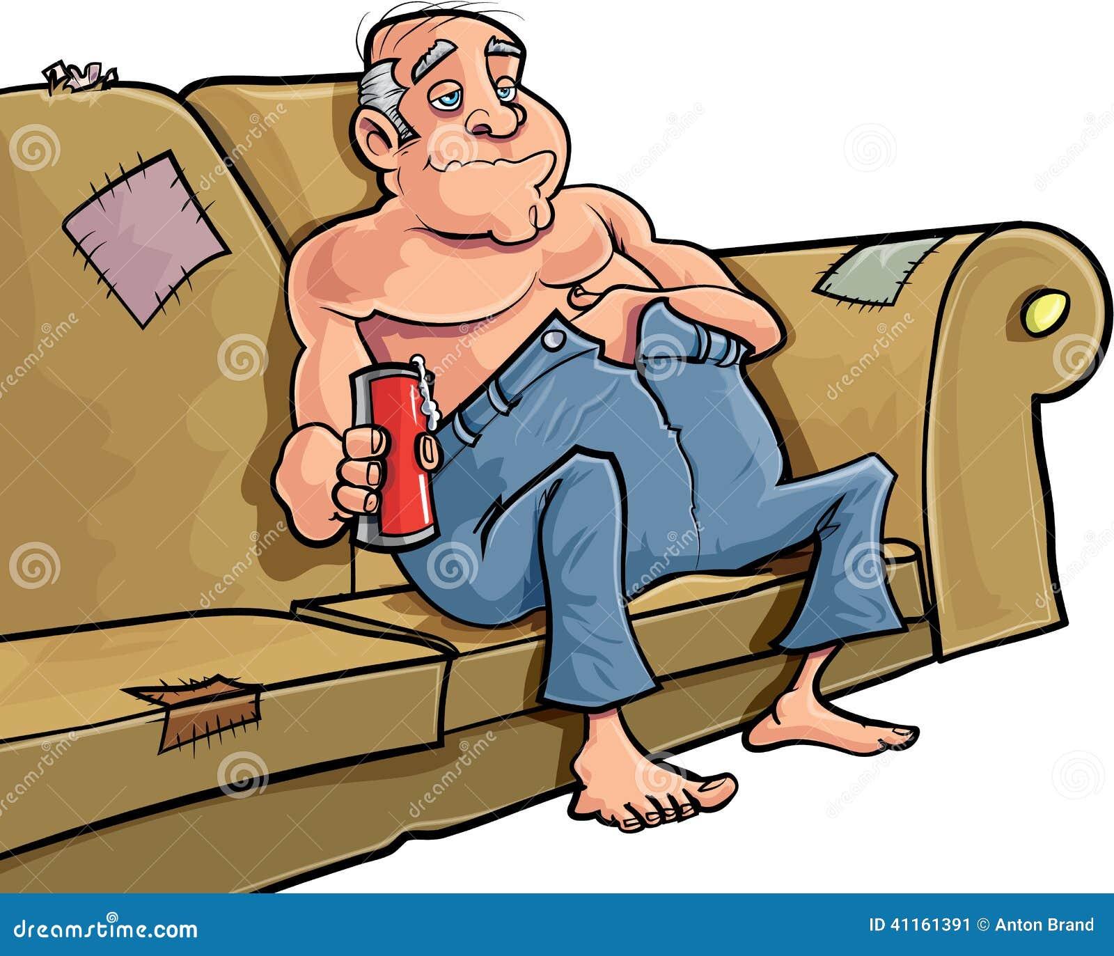 karikaturmann der auf einer couch mit einem bier sitzt stock abbildung illustration von. Black Bedroom Furniture Sets. Home Design Ideas