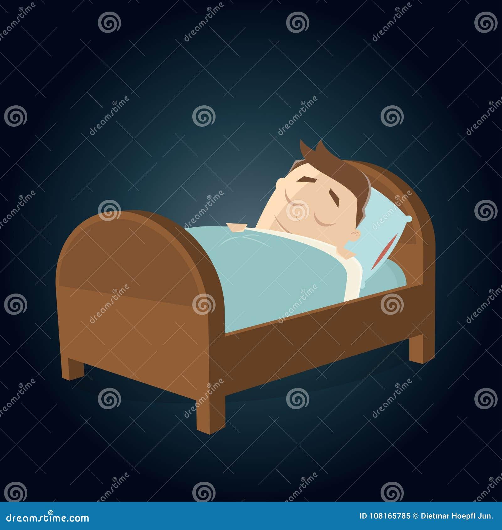 Karikaturmann Der Im Bett Schlaft Vektor Abbildung Illustration