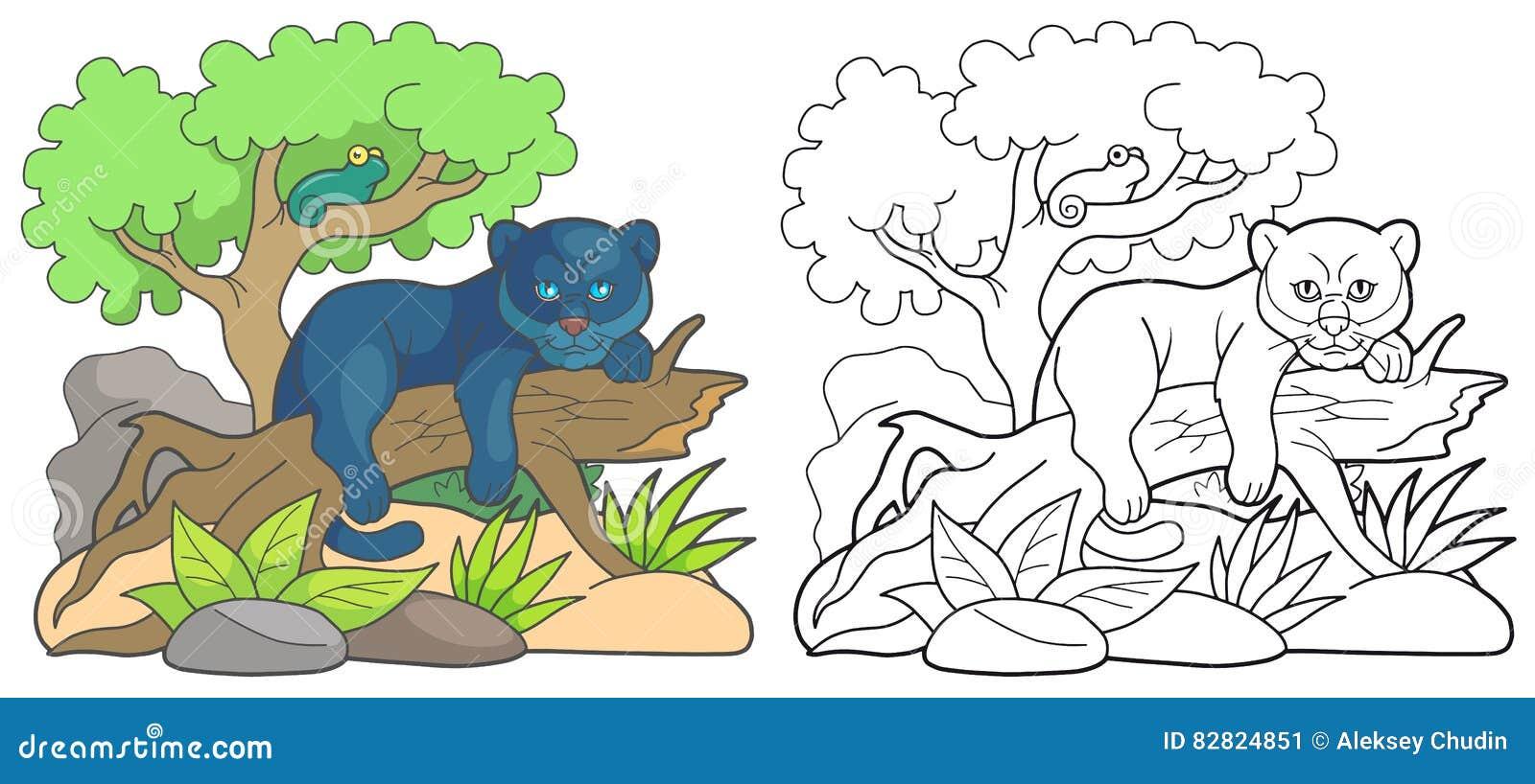 Karikaturpanther, der auf einem alten Baum stillsteht