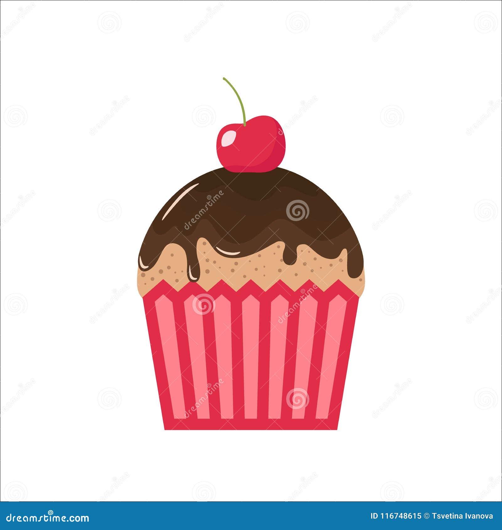 Karikaturschokoladenkleiner Kuchen Mit Kirsche Auf Die