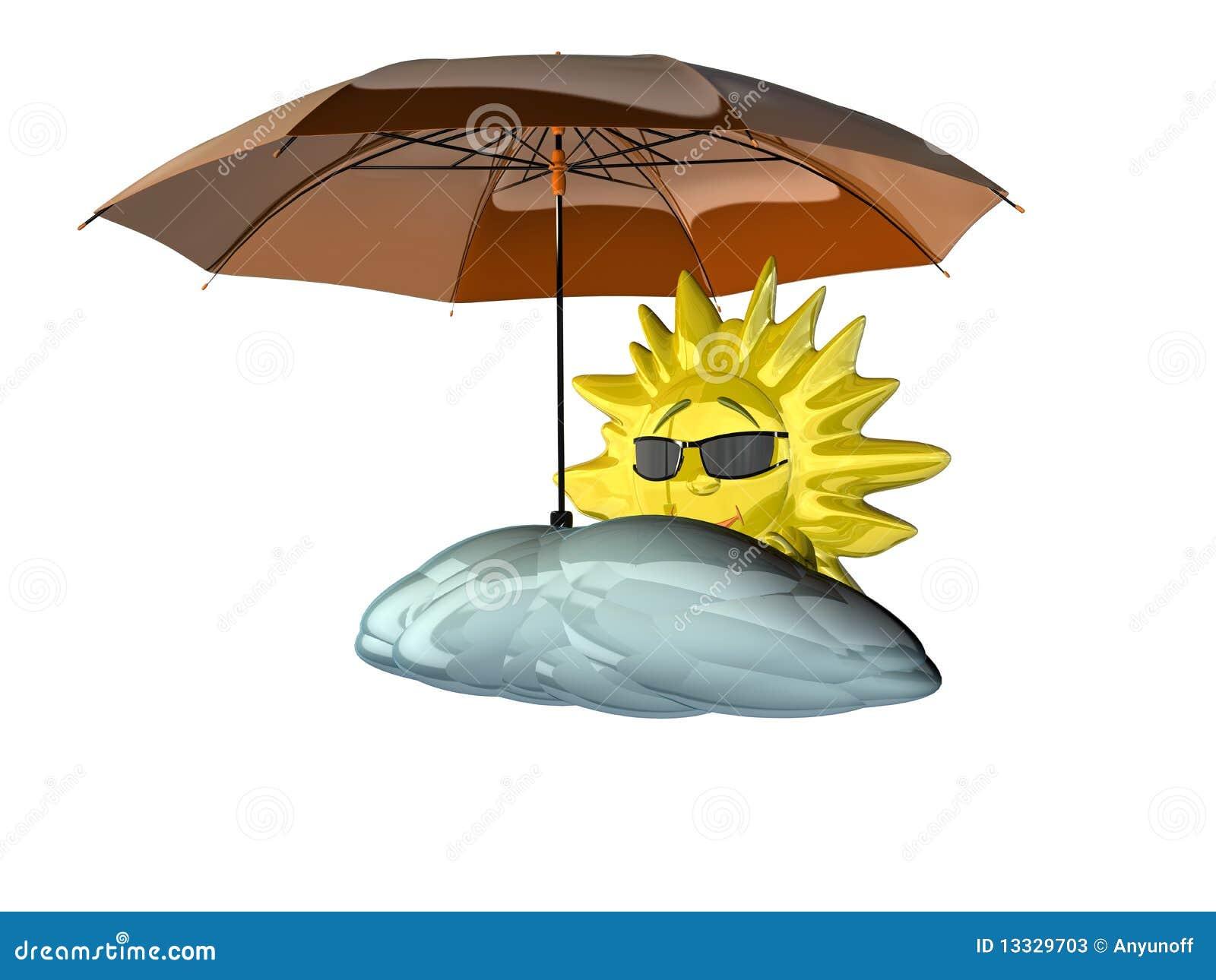 Karikatursonne mit Regenschirm