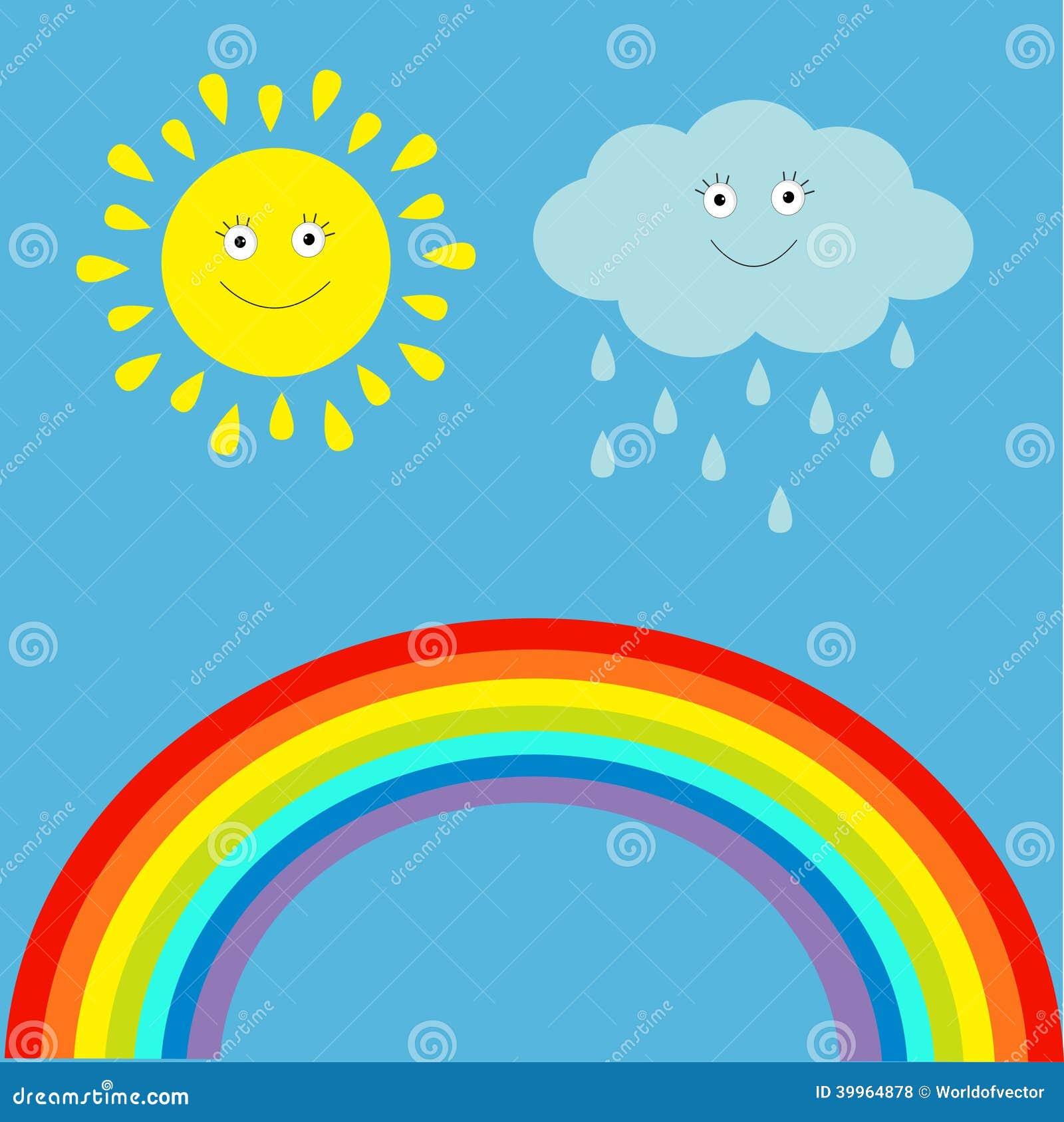 Karikatursonne Wolke Mit Regen Und Regenbogensatz Kinder Lustiges