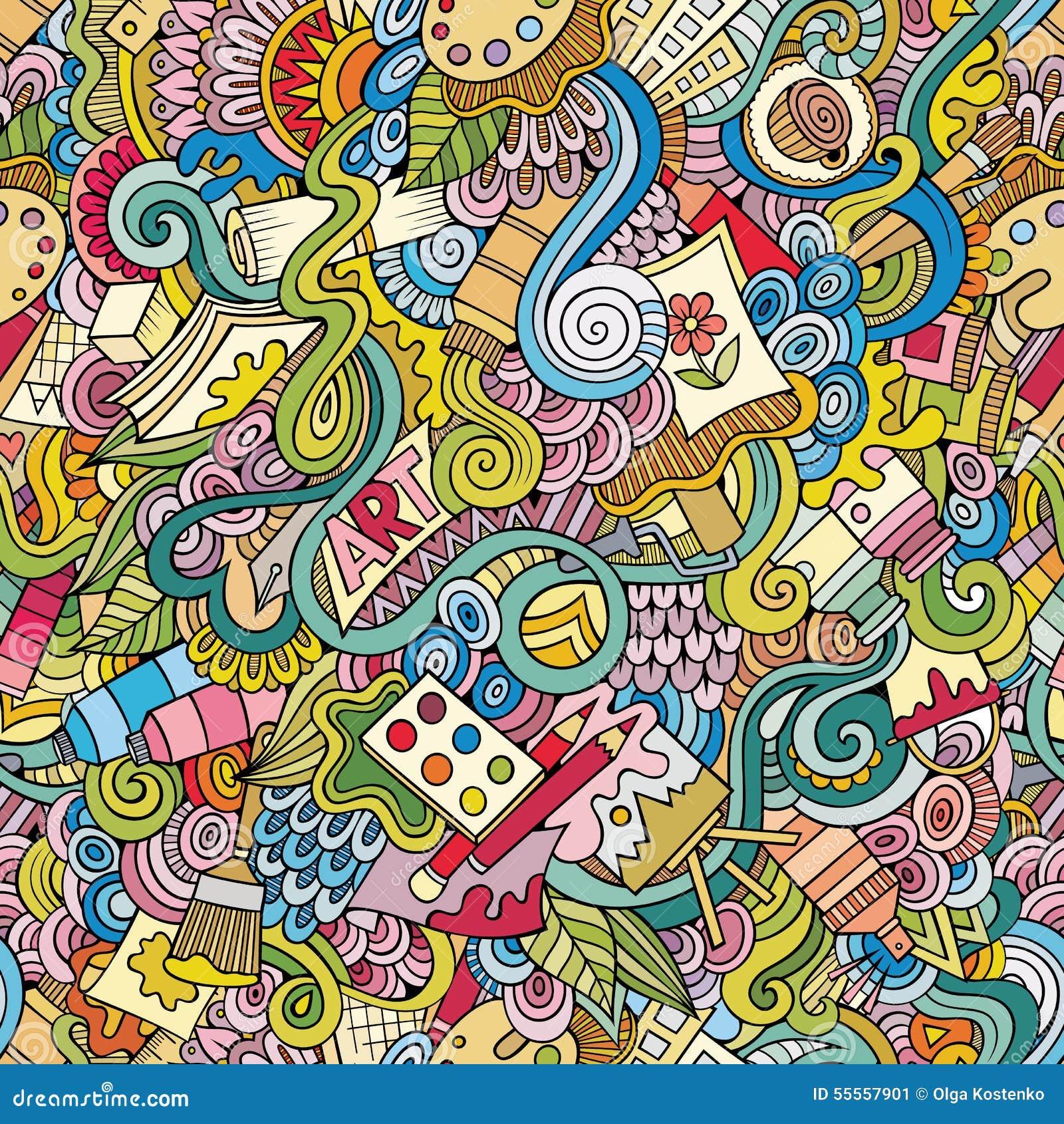 Karikaturvektorkunst und nahtloses Muster des Handwerks