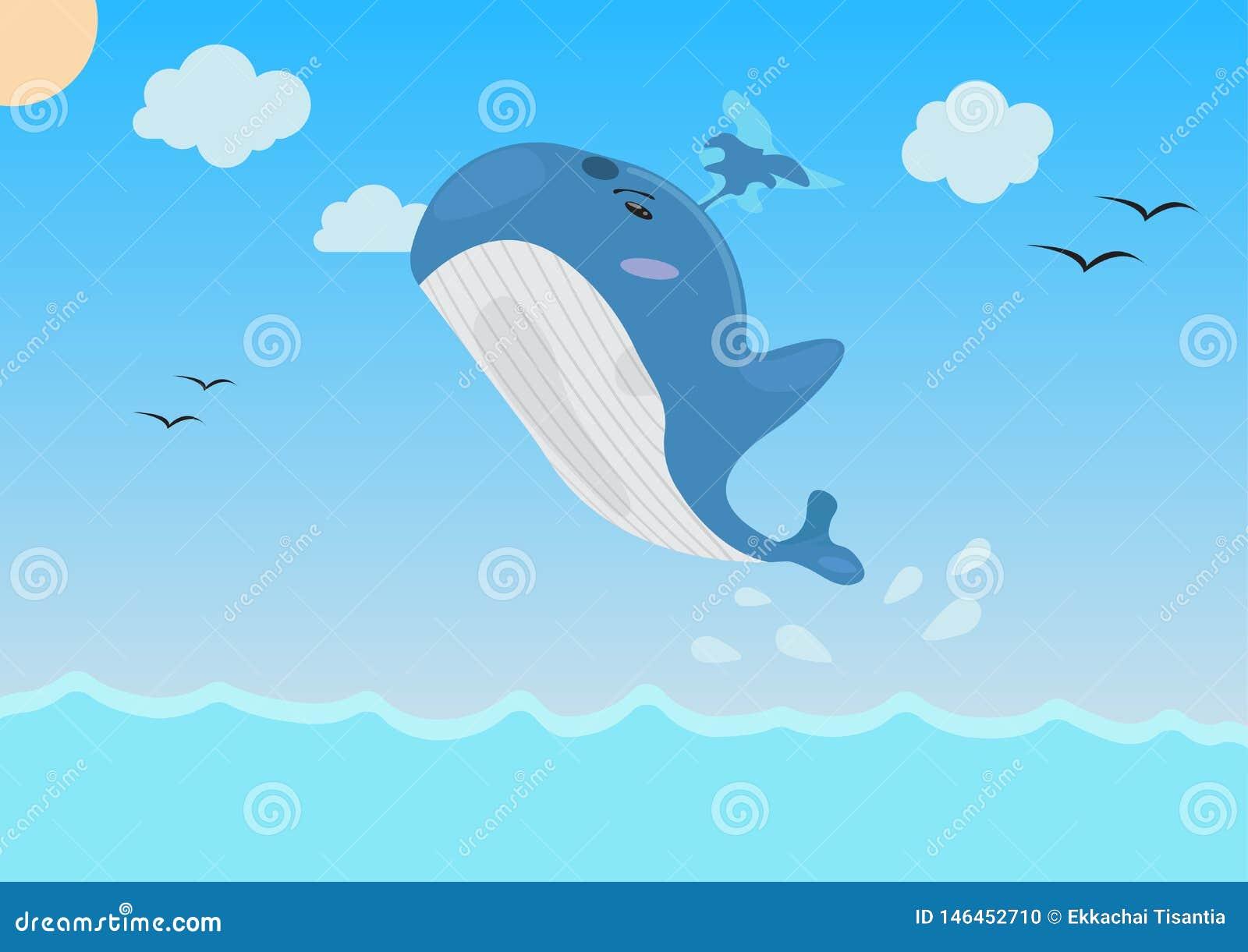 Karikaturwal, der in das Meer springt Vektor Abbildung