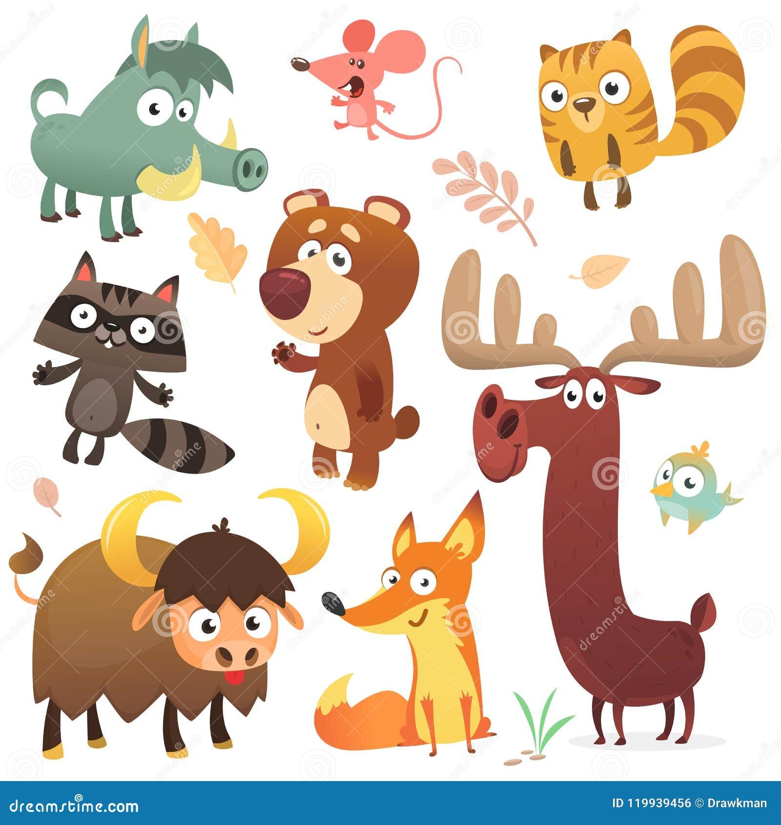 Karikaturwaldtiercharaktere Tier-Sammlungsvektor der wilden Karikatur netter Großer Satz des flachen Vektors der Karikaturwaldtie