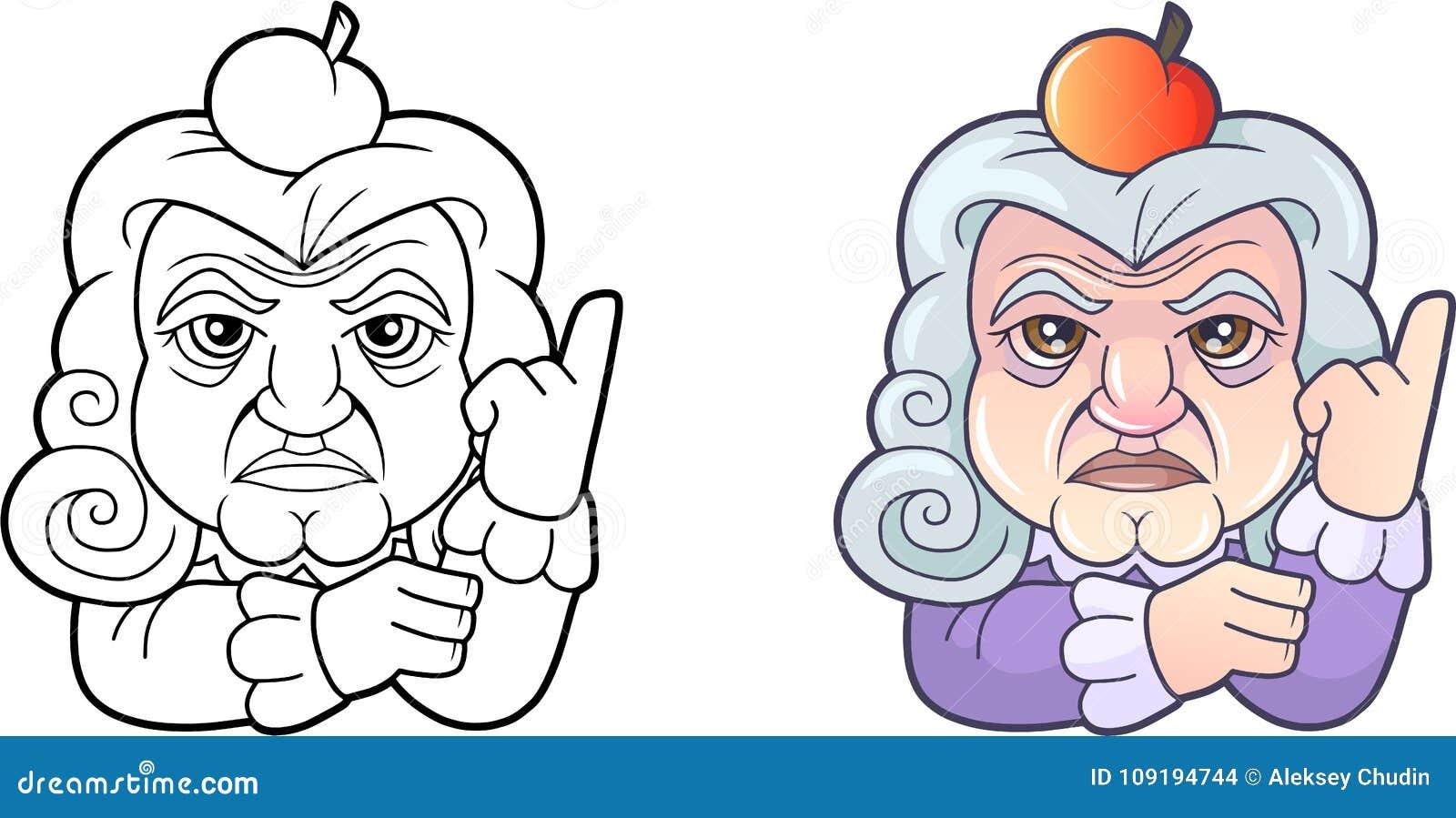 Karikaturwissenschaftler Isaac Newton Lustige Illustration Vektor