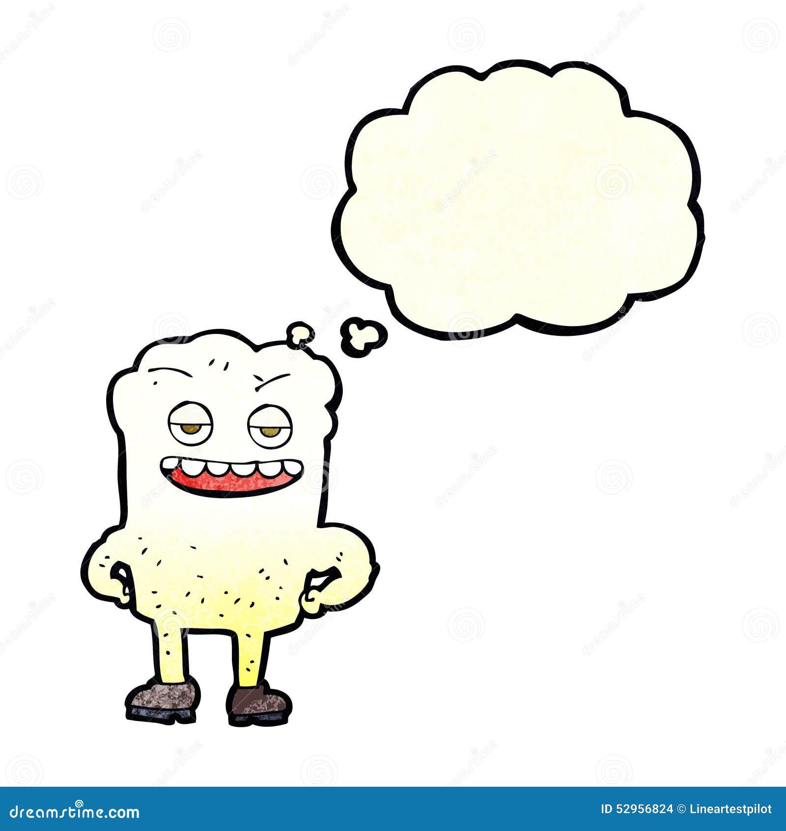 Karikaturzahn, der mit Gedankenblase eingebildet schaut