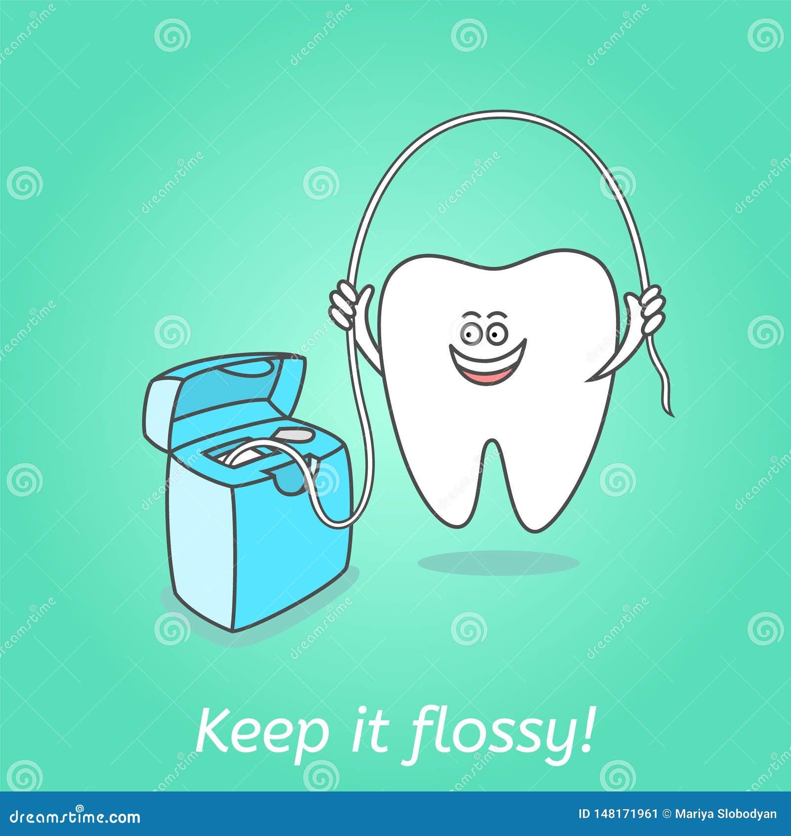 Karikaturzahn mit Zahnseide Zahnheilkundeplakat