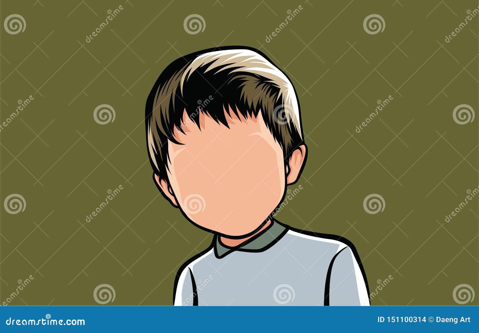 Karikatuur van portretten, illustraties van mannelijke organismen in grijze kleren