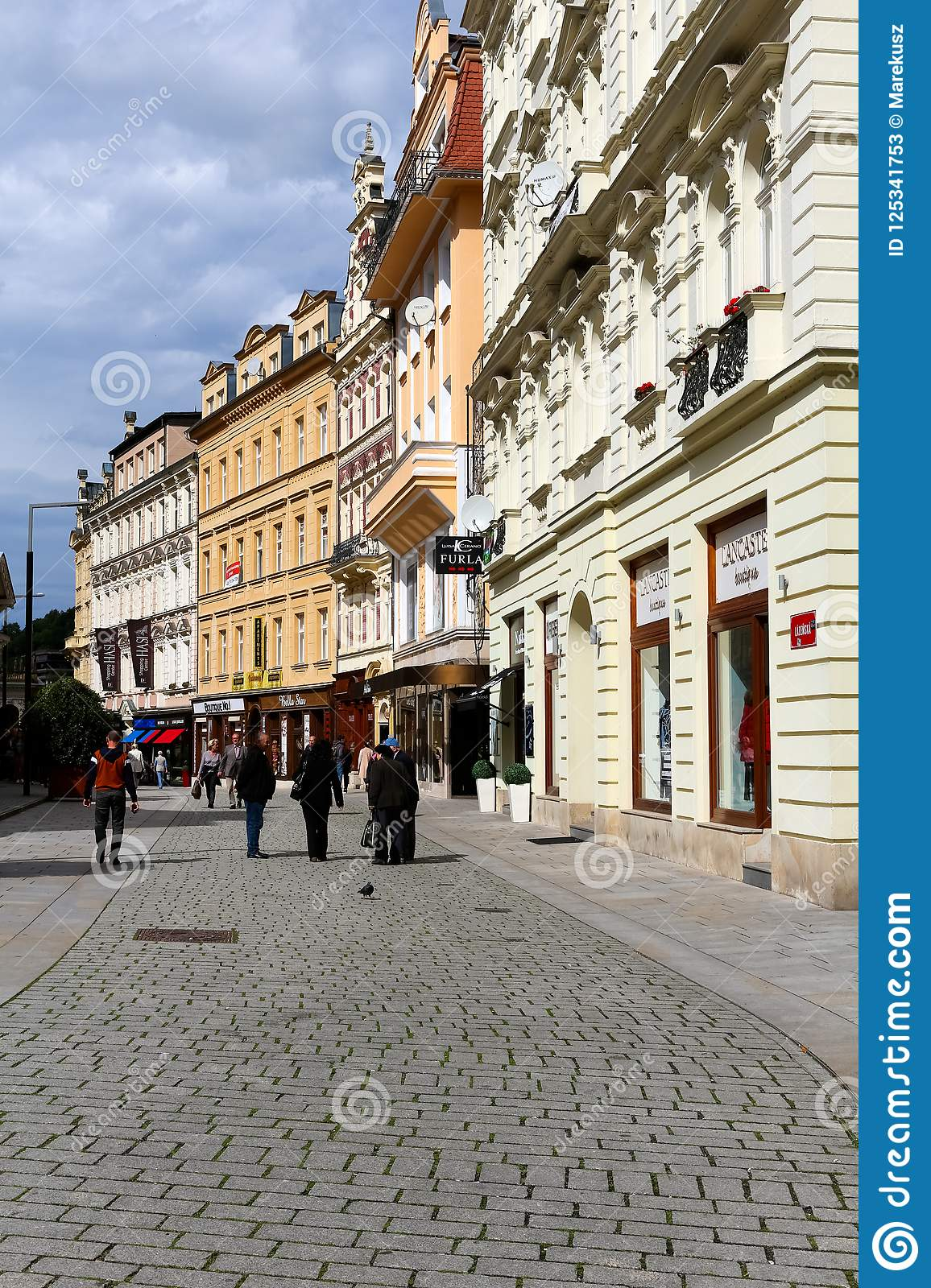 View of the street and facades of buildings