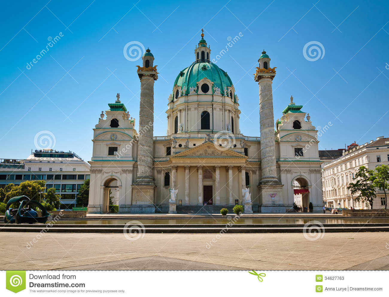 Karlskirche in vienna stock image image of place praying for Baroque style church