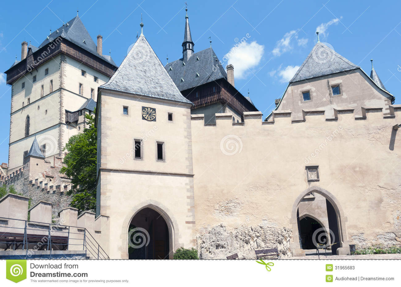 Karlstejn castle czech republic stock photos image for Where is prague near