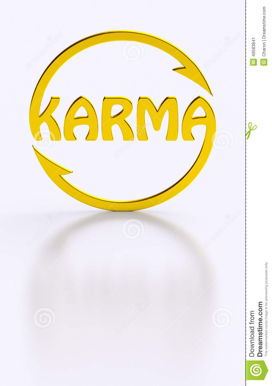 Karma Word Cycling Golden Symbol Stock Illustration Illustration