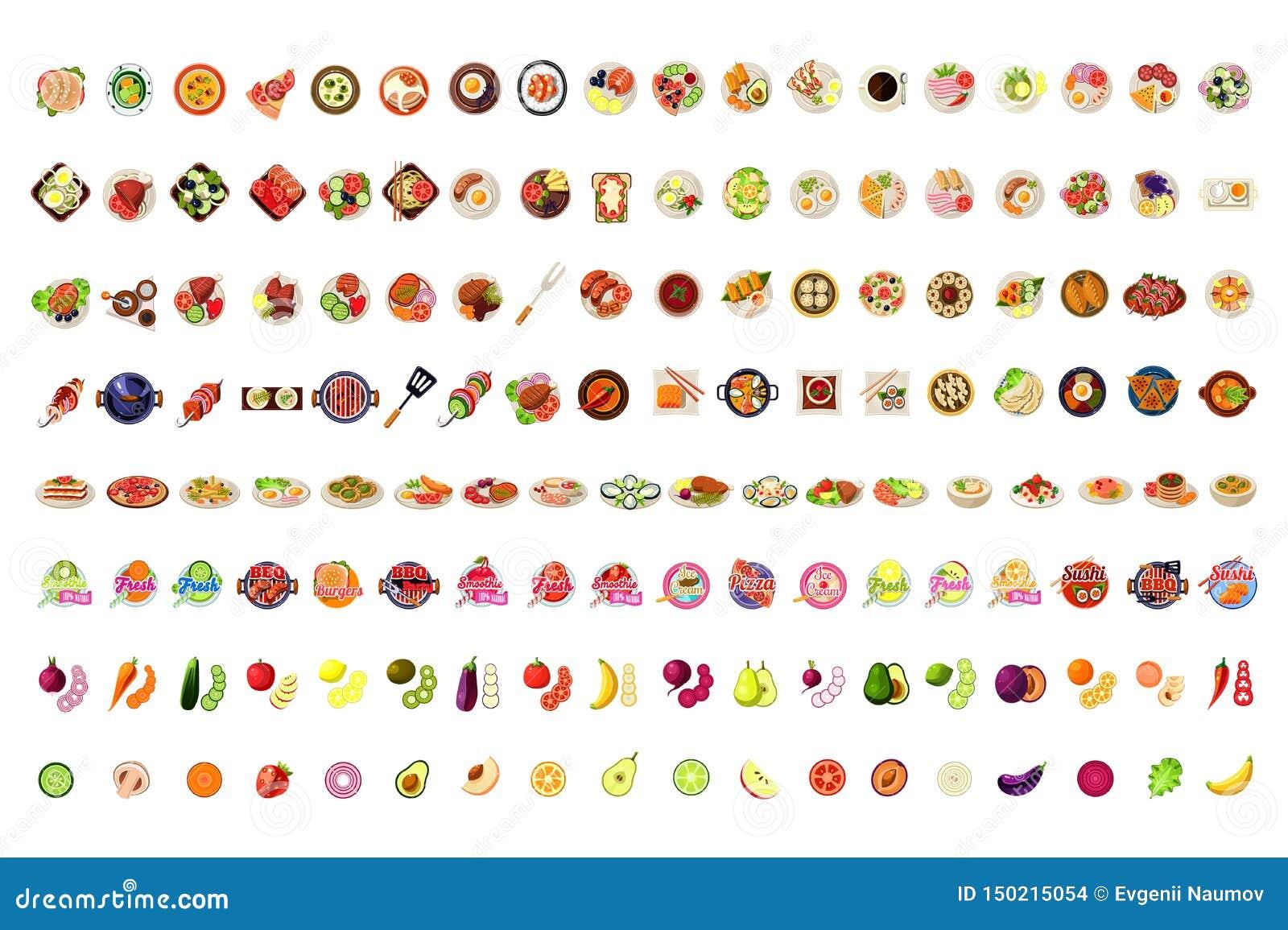 Karmowe ikony Duży set, owoc, warzywa, BBQ, pizza, Smoothie, suszi, lody, hamburger etykietek wektoru ilustracja