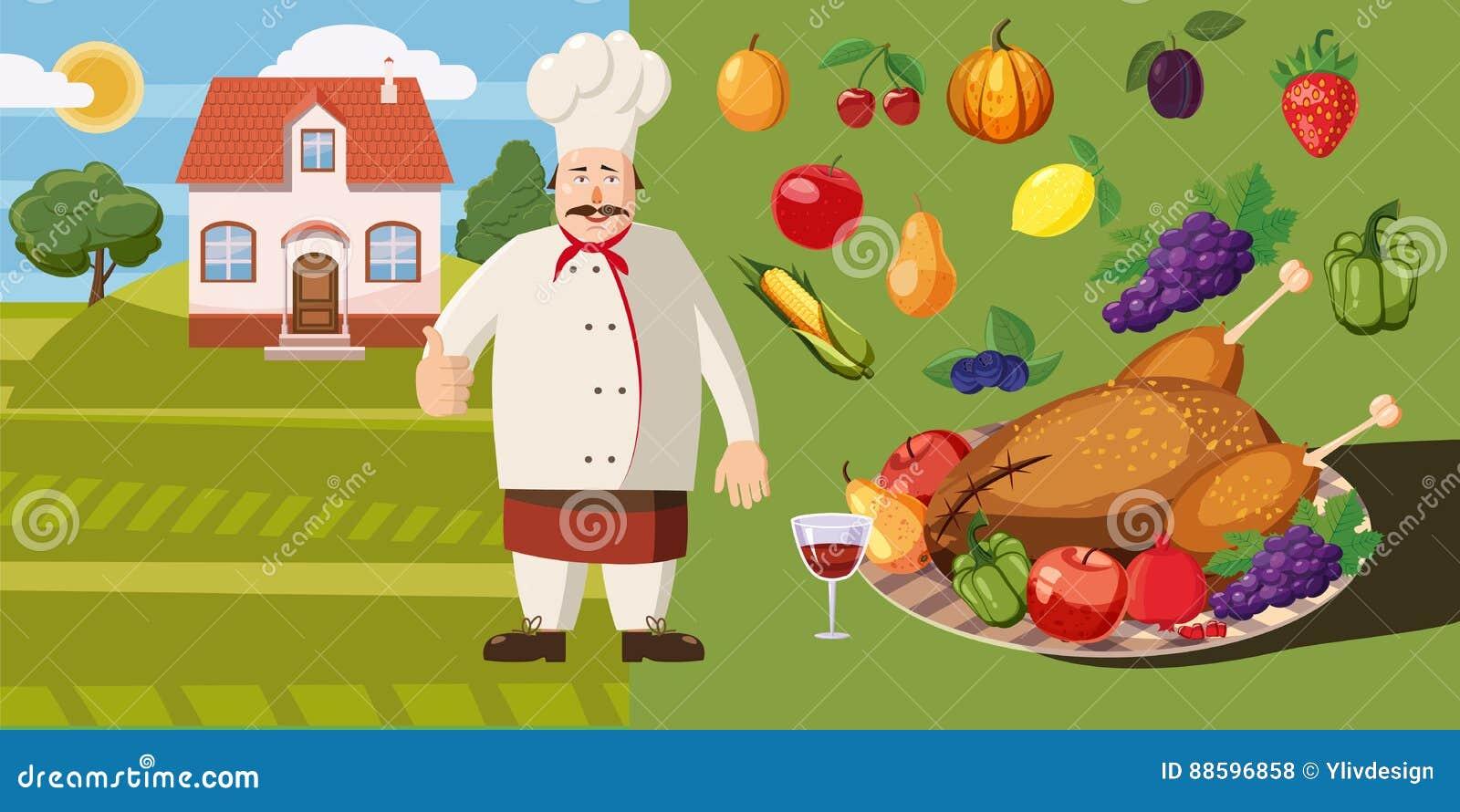 Karmowy horyzontalny sztandaru kucharz, kreskówka styl