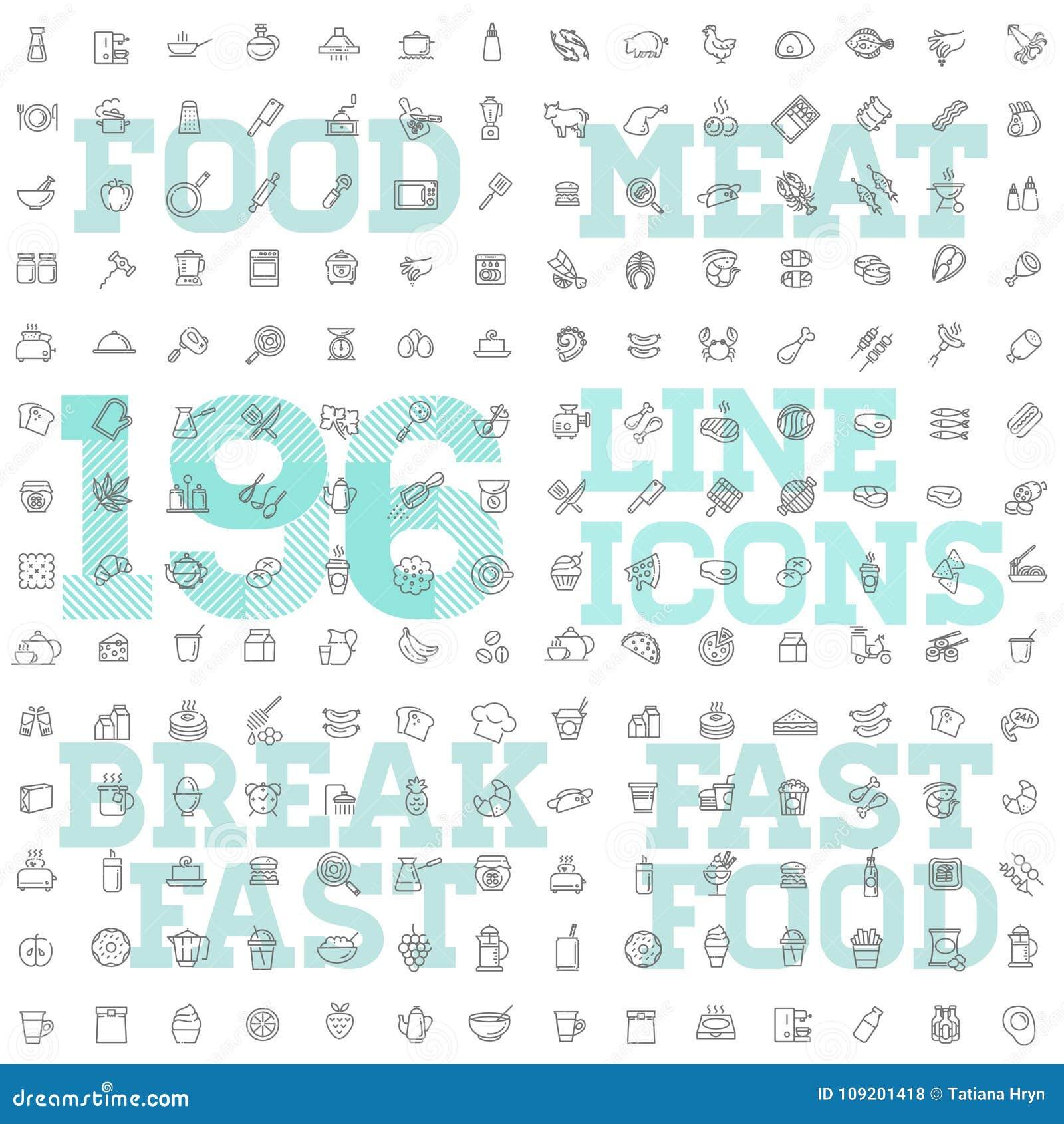 196 karmowy i napój ikony cienki wektorowy set