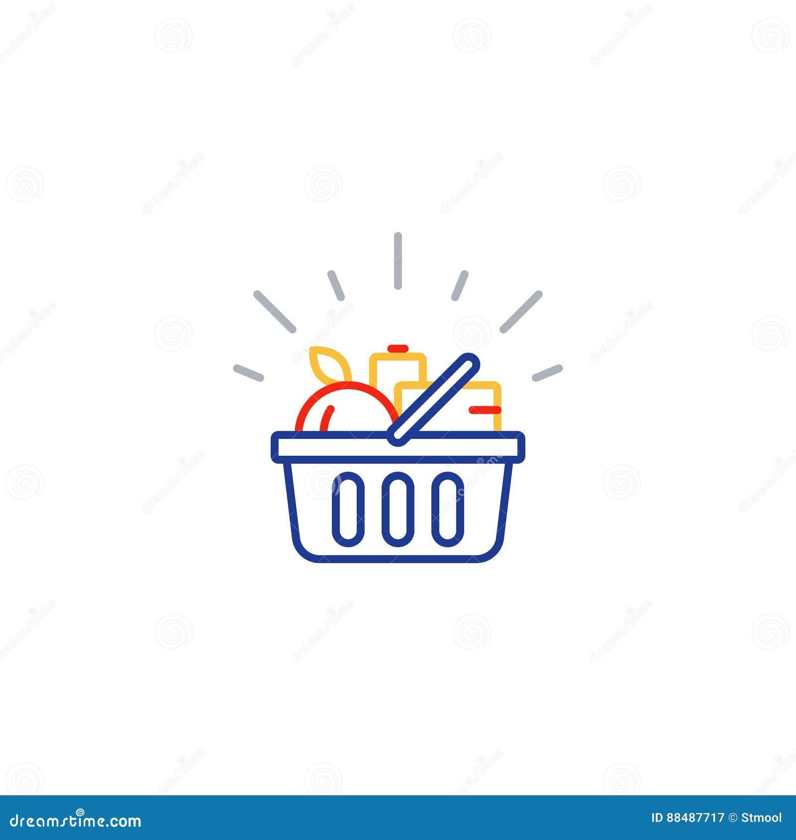 Karmowy kosz, sklepu spożywczego rozkaz, sklepowa specjalnej oferty linii ikona