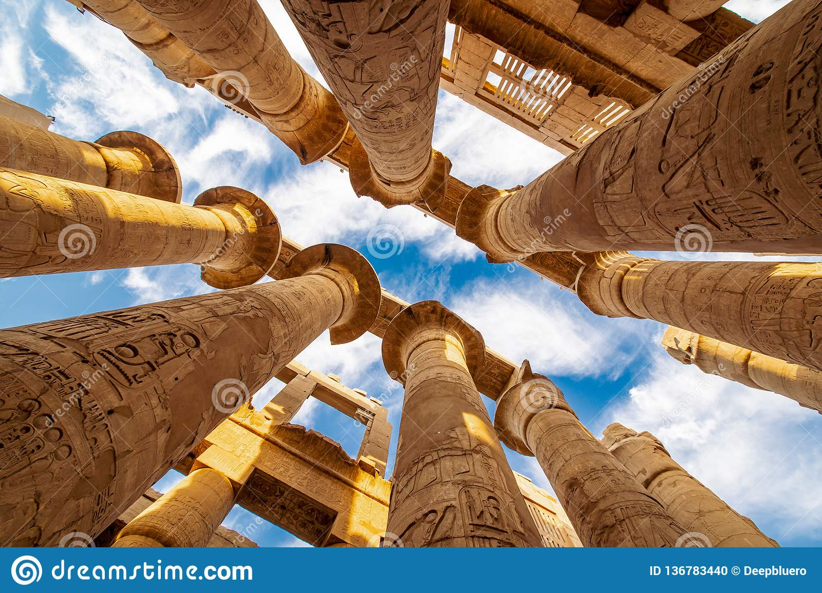 Karnak Hypostyle hall columns in the Temple at Luxor Thebes