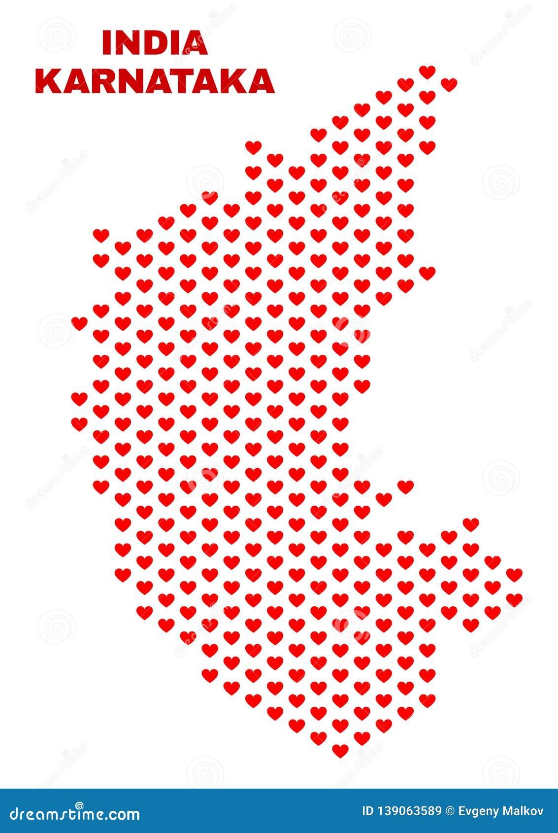 Karnataka State Map - Mosaic Of Valentine s Stock ... on gujarat state india map, bellary karnataka india map, bihar state india map,