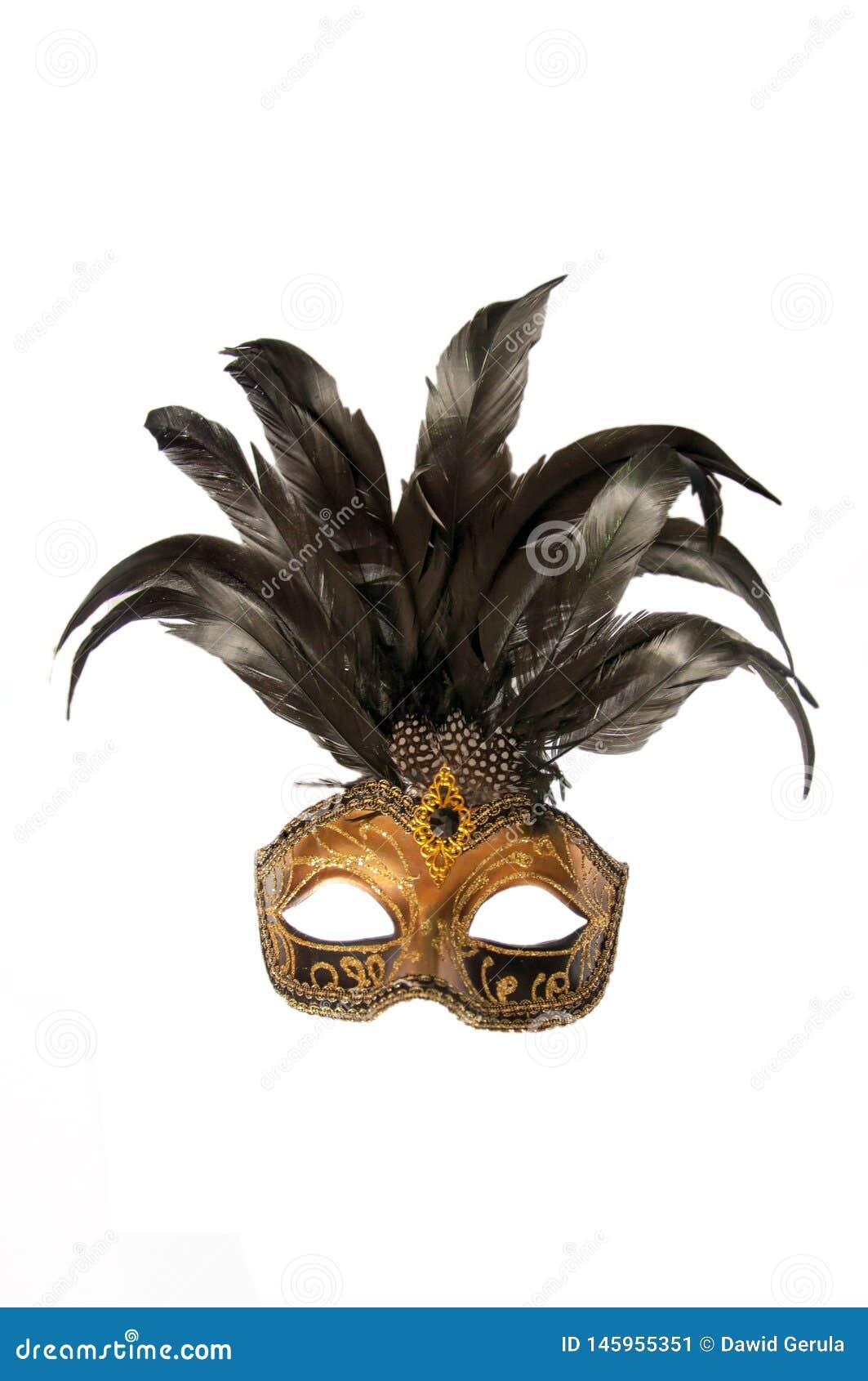 Karnawałowa Venice Italy maska z czarnymi piórkami