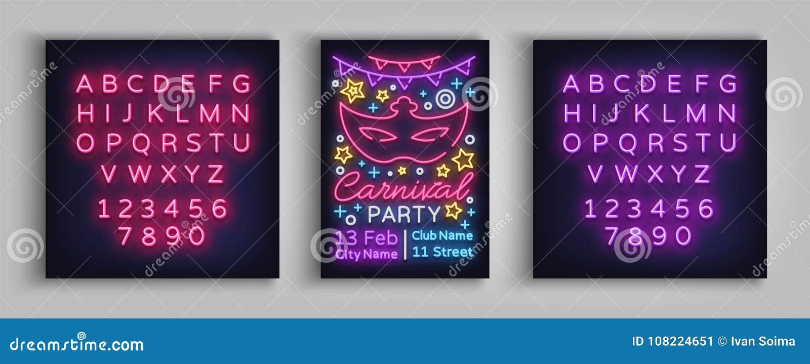Karnevalspartei-Designschablone, Broschüre, Plakat in der Neonart Helle leuchtende Einladung an die Karnevalspartei