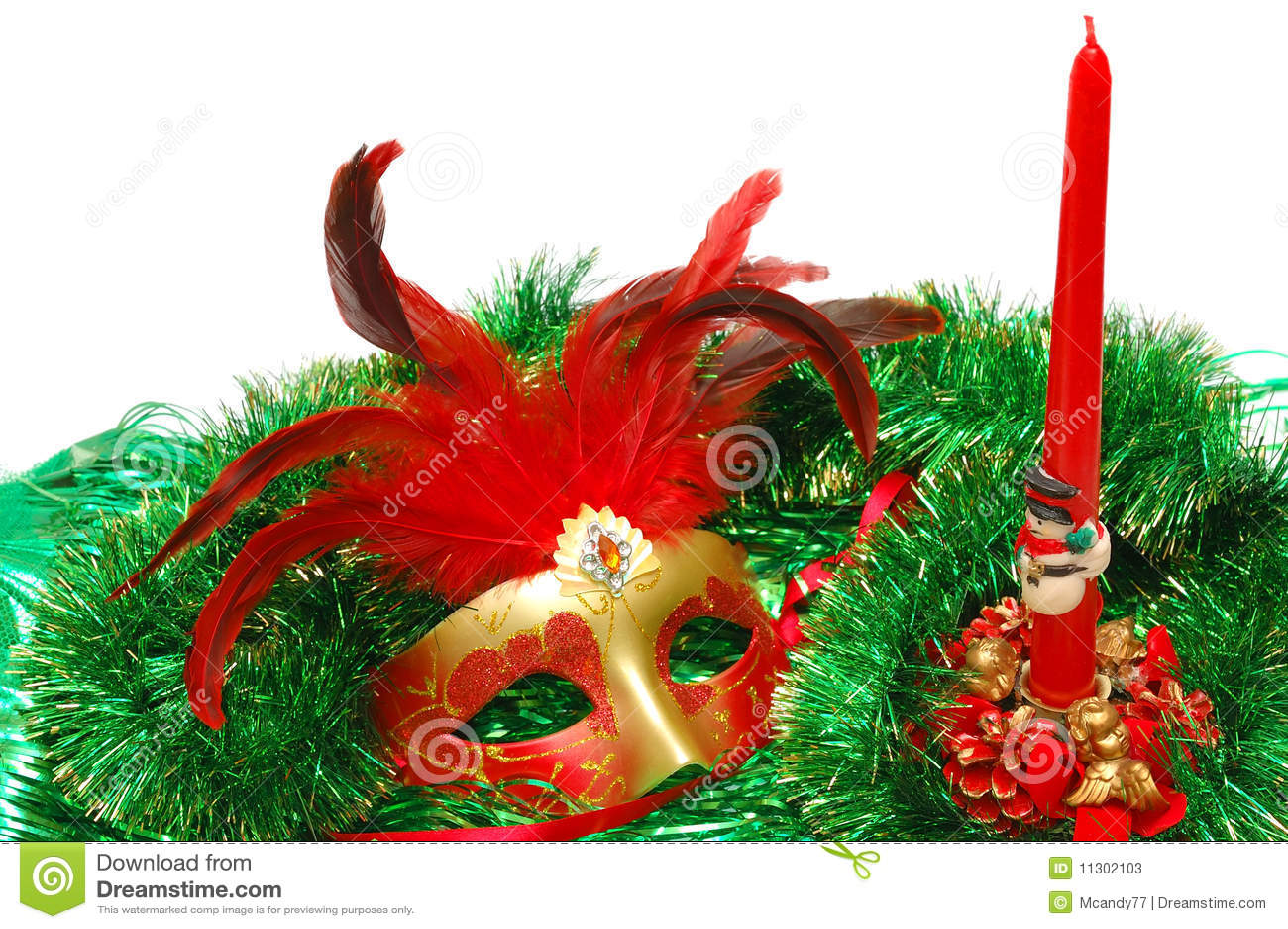 Karnevalsschablone auf einer Verzierung des neuen Jahres