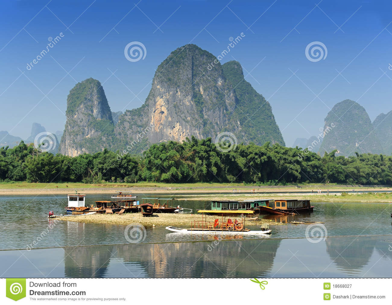 Karst Mountain Landscape In Yangshuo Guilin, Royalty Free Stock ...