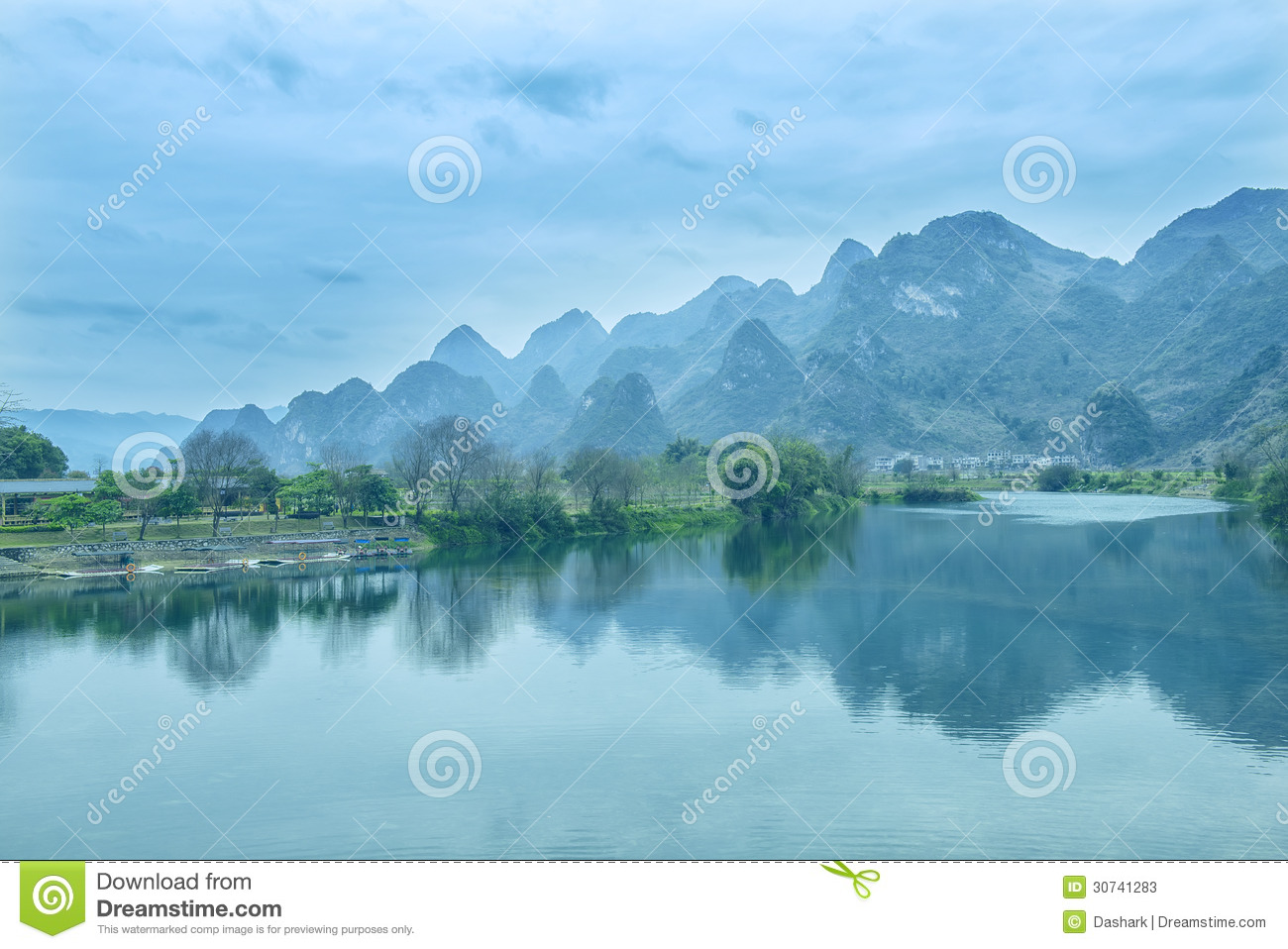 Karst Mountain Landscape In Yangshuo Guilin, Stock Photos - Image: 30741283