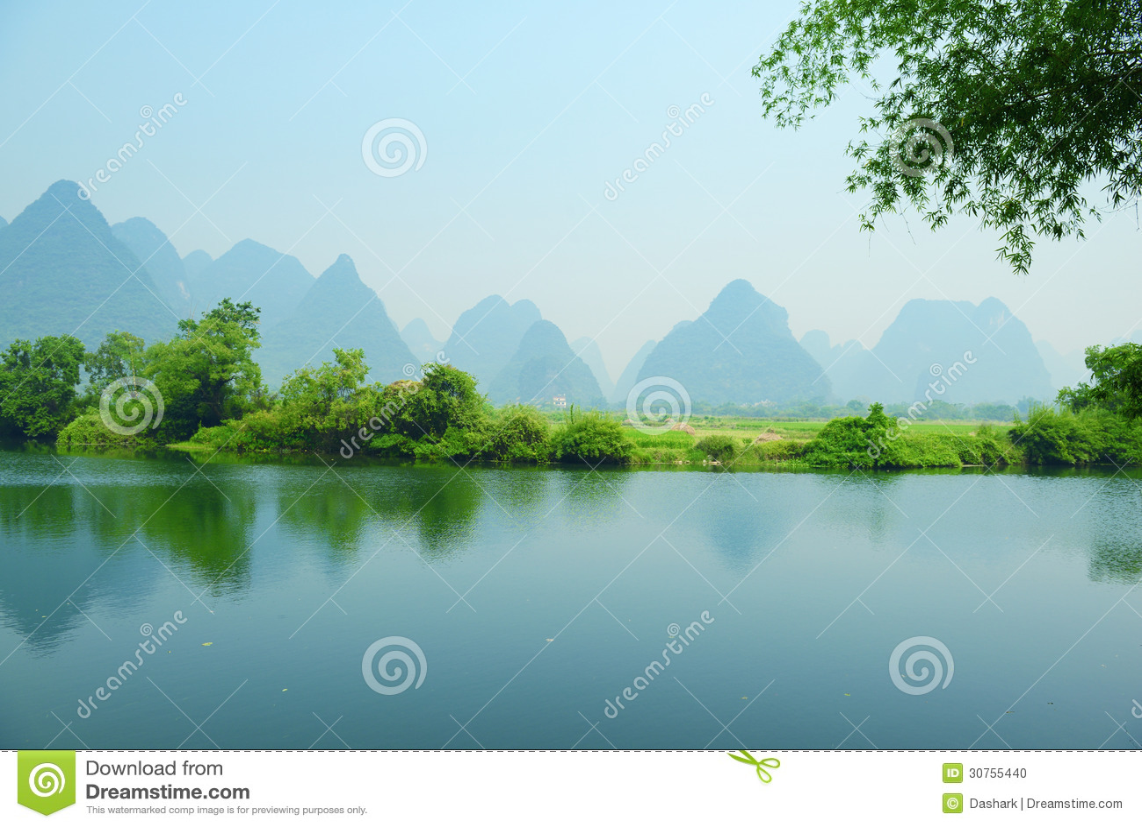 Karst Mountain Landscape In Yangshuo Guilin, Stock Photo - Image ...