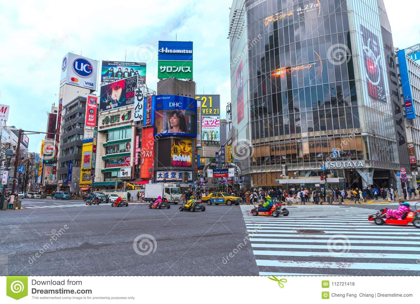 Kart de Mario no distrito de Shibuya no Tóquio, Japão