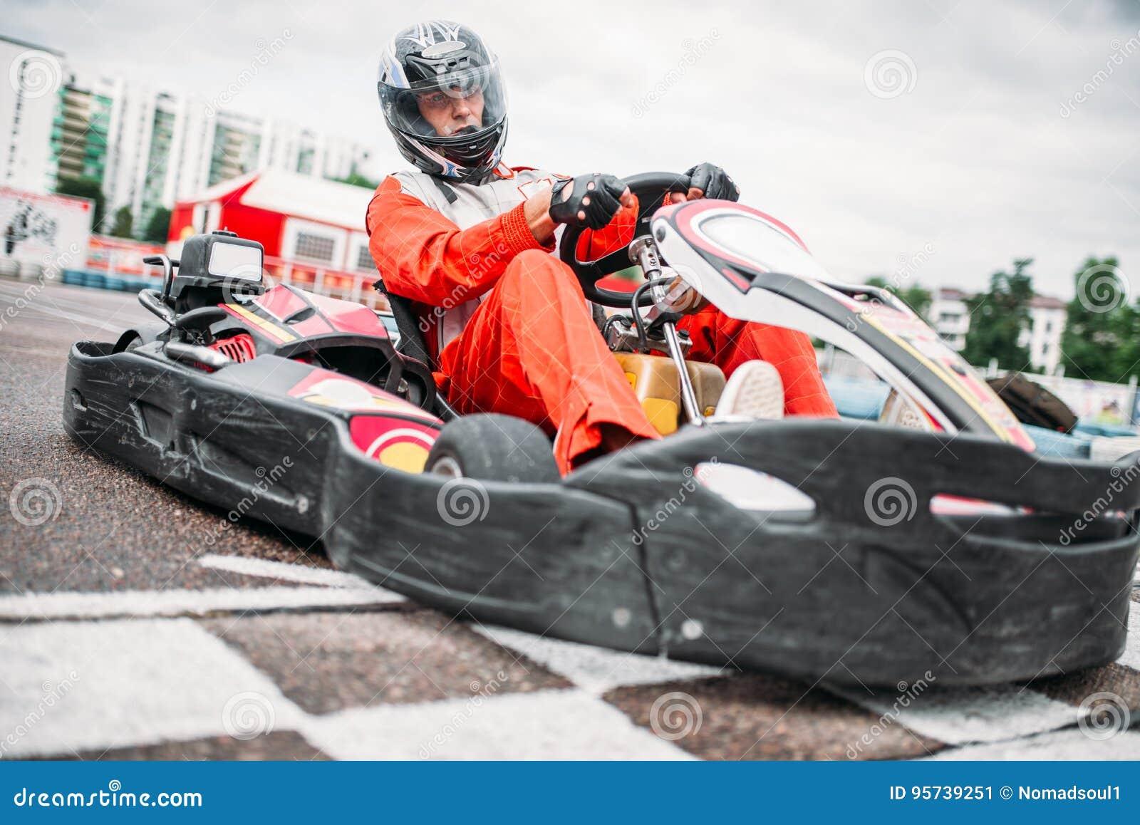 Kart racer on start line, go cart driver