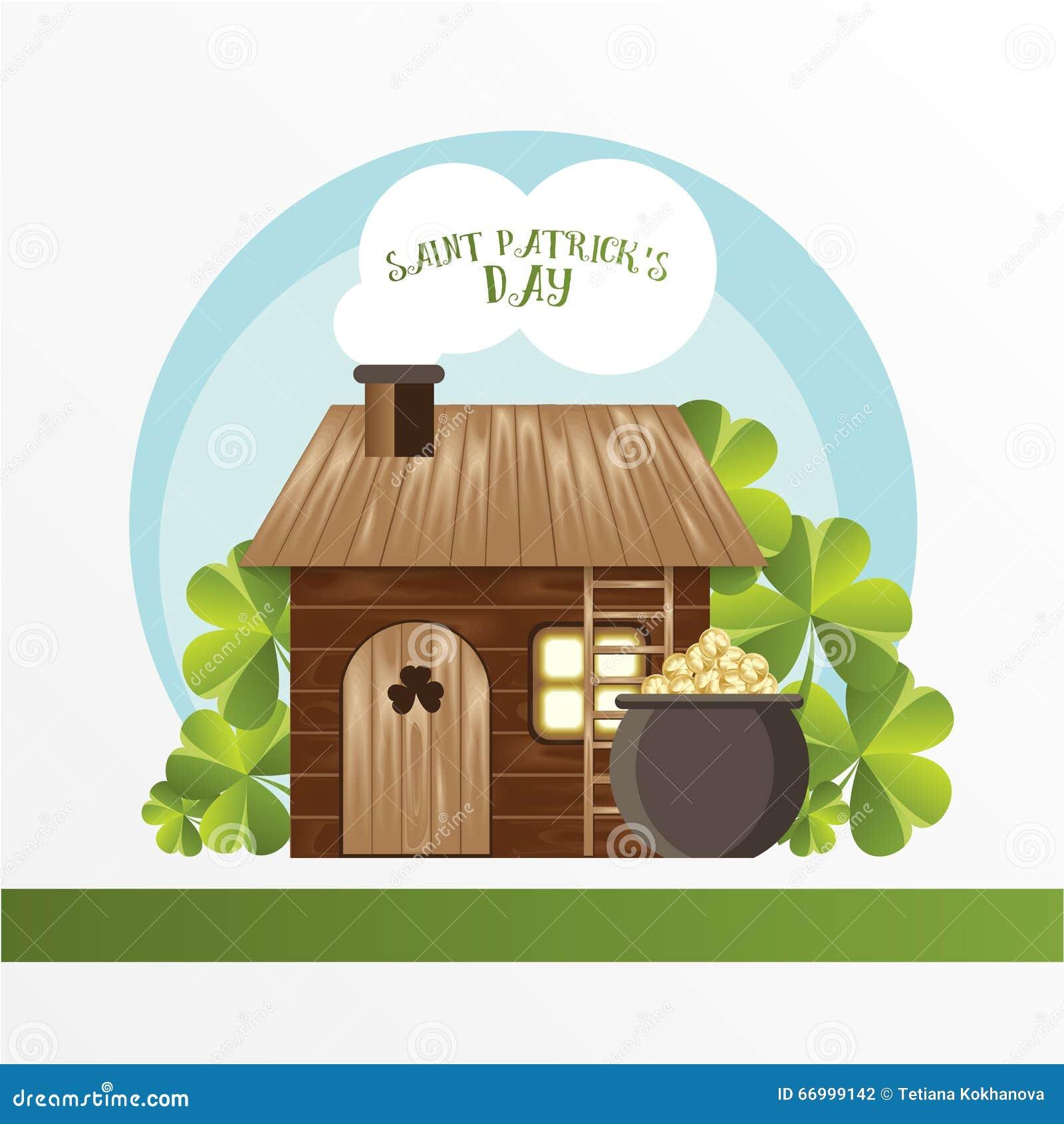 Karta dla St Patrick dnia Leprechaun dom i garnek z złotymi monetami Kreskówka śmieszny styl