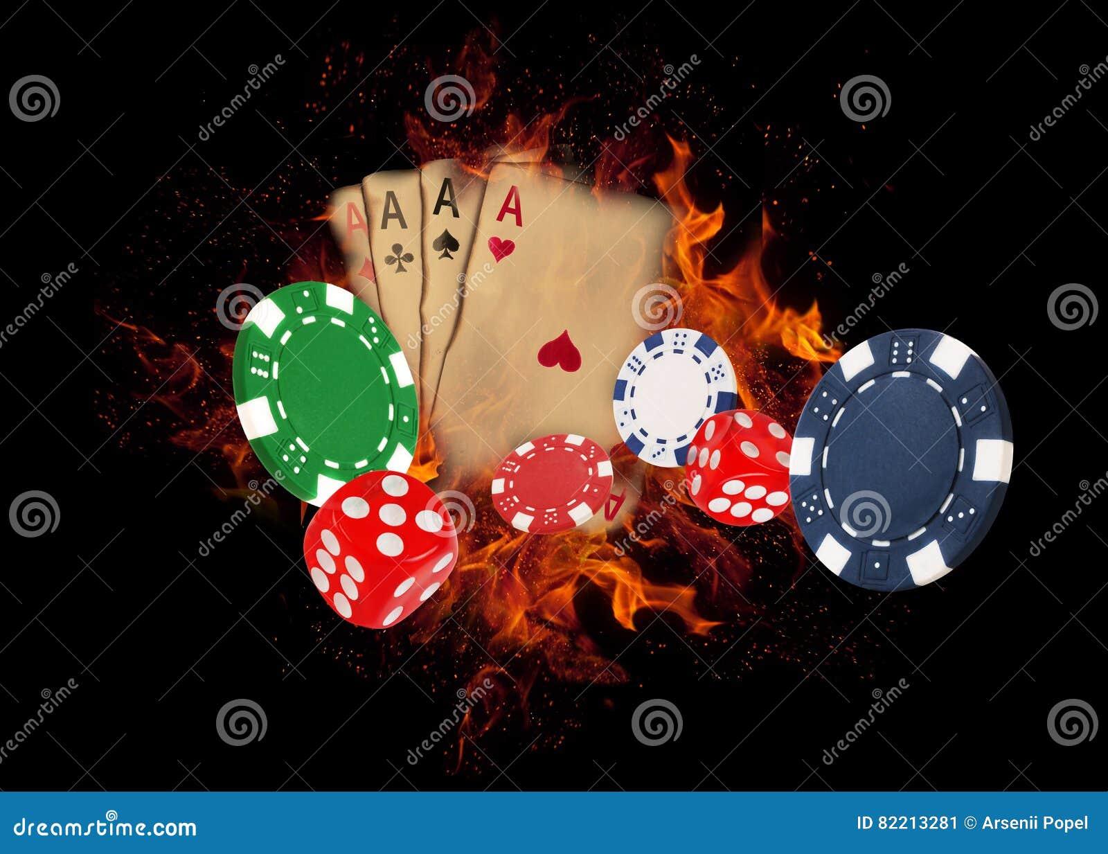 Karta do gry i układy scaleni na ogieniu KASYNOWY pojęcie