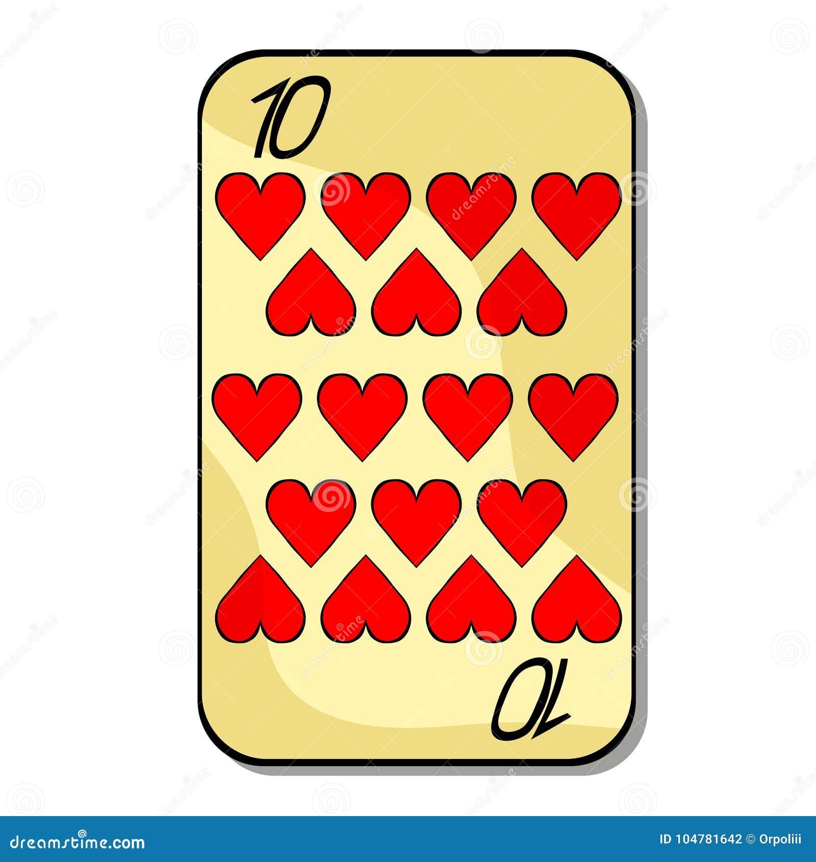 Karta do gry kostiumu dziesięć serce również zwrócić corel ilustracji wektora