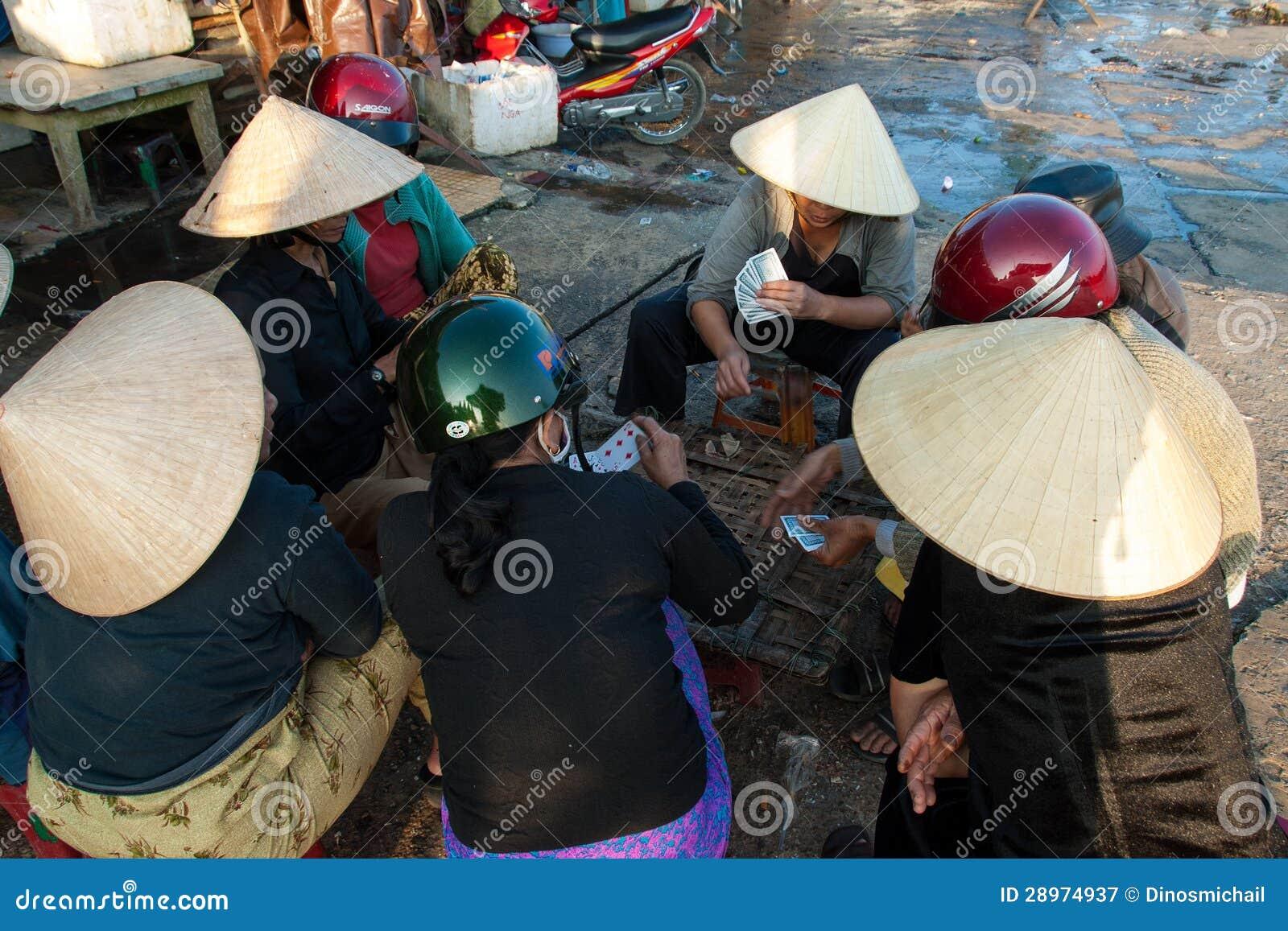 Karta do gry w rybim rynku Hoi, Wietnam