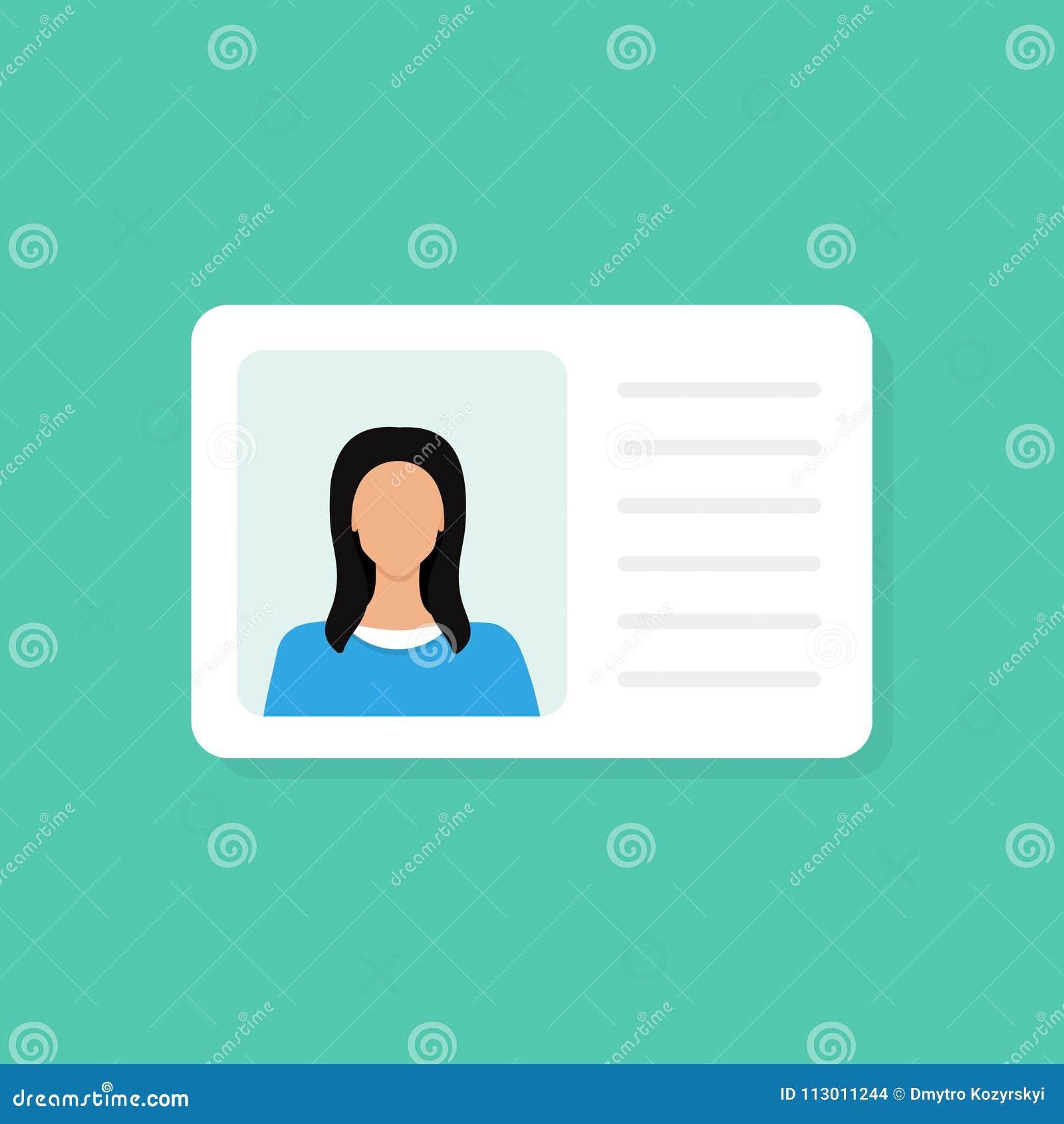 Karta identyfikacyjna Informacja osobista dane Tożsamość dokument z osoba teksta i fotografii clipart Płaski projekt, wektor