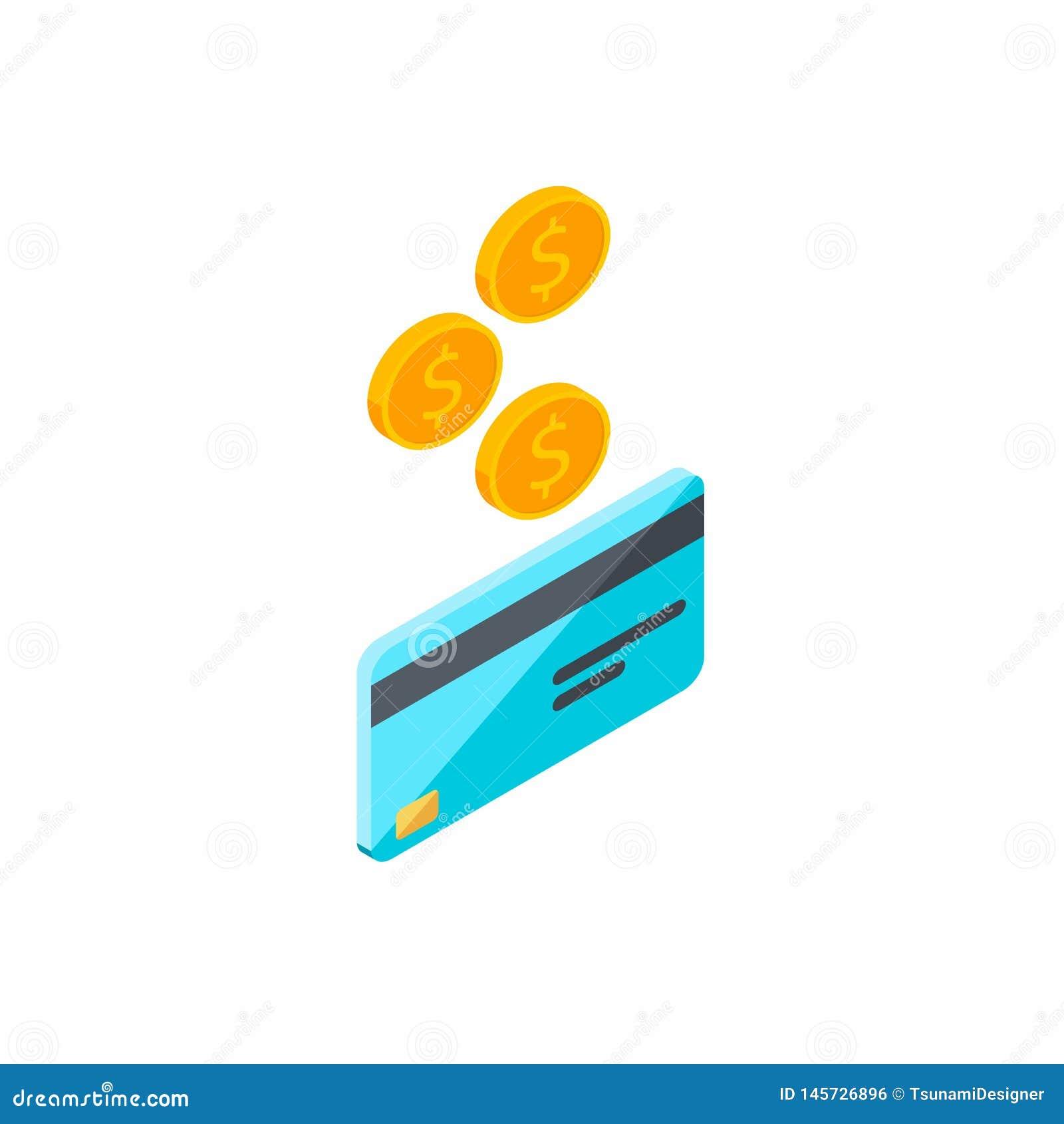 Karta kredytowa, Zarabia pieni?dze, Isometric, moneta, finanse, bank karta, biznes, wektor, got?wka dostaje bank kart?