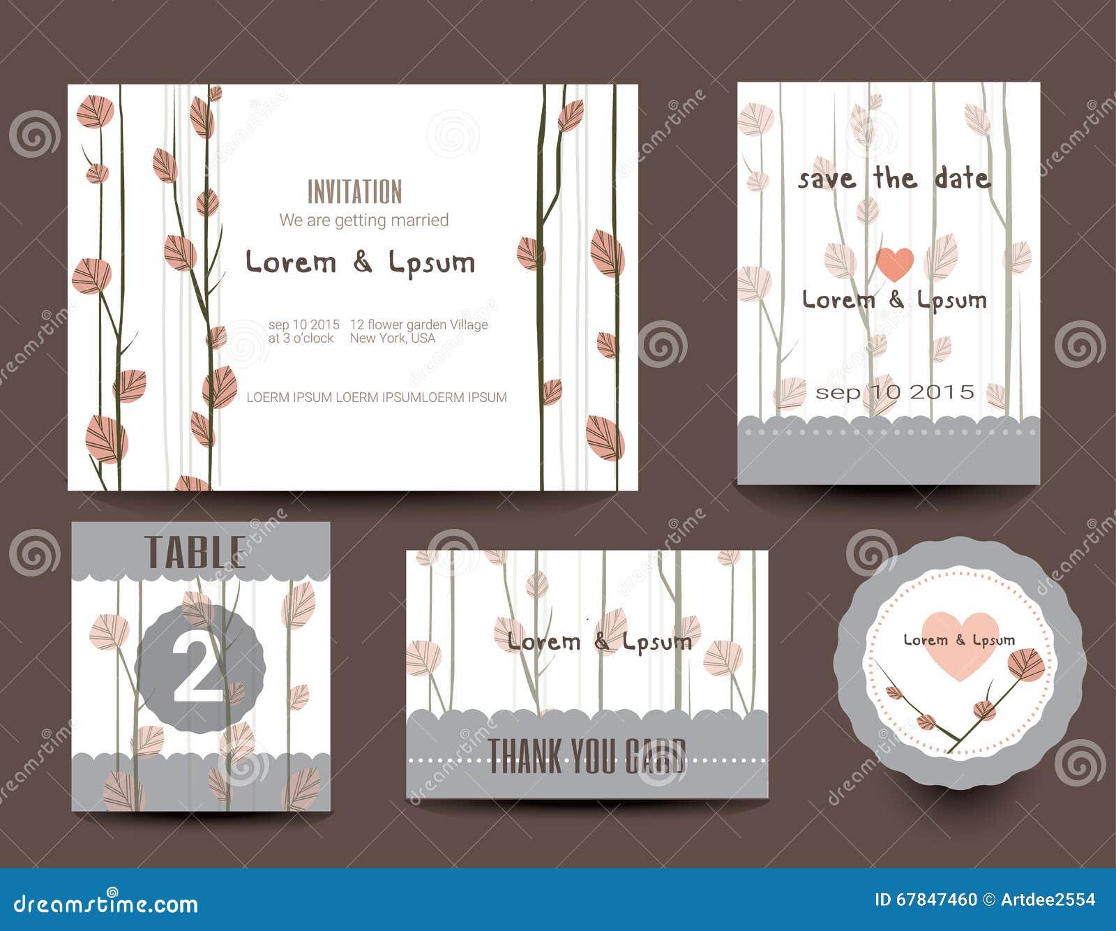 Karta zestaw ślub Ślubni zaproszenia, Dziękuje ciebie karcianego