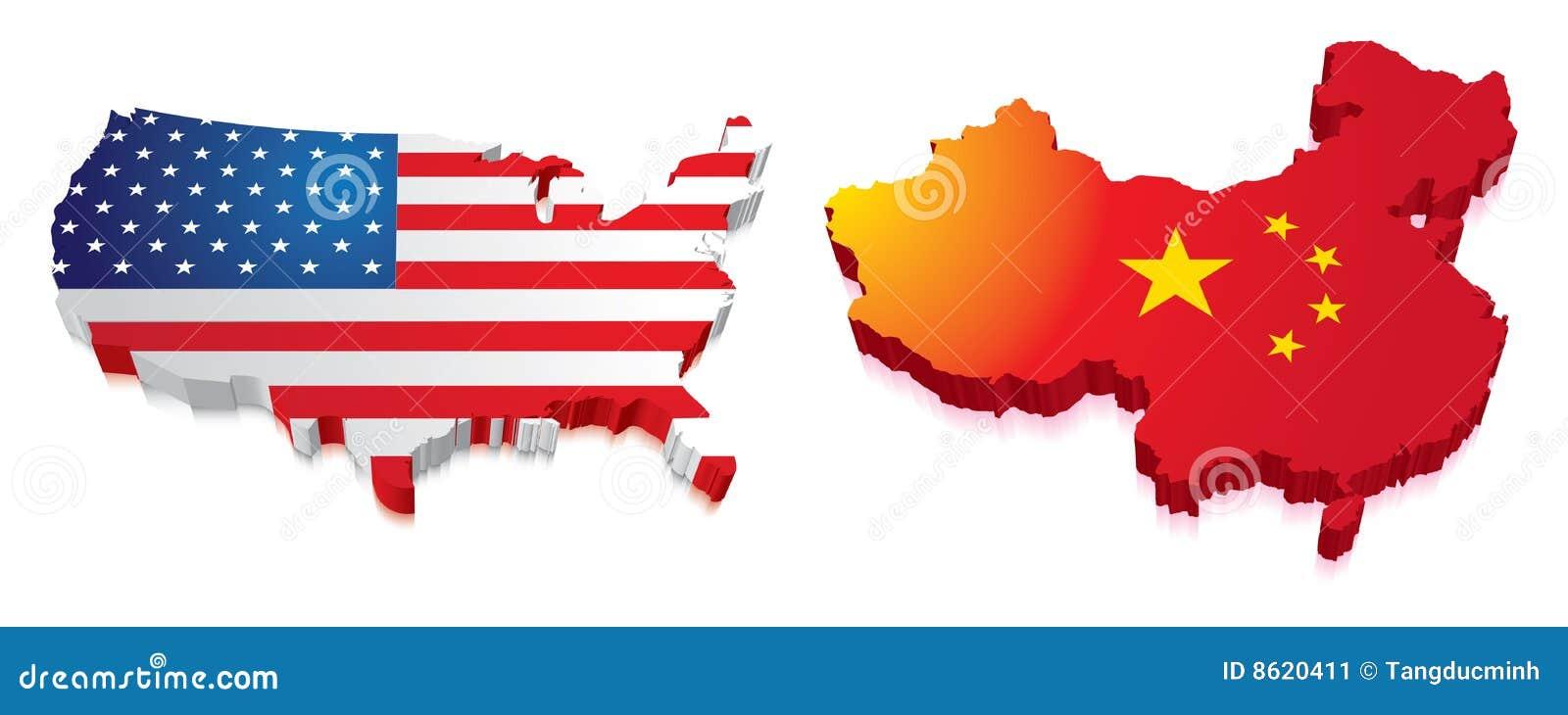 Karte 3D von China und von US mit Markierungsfahne