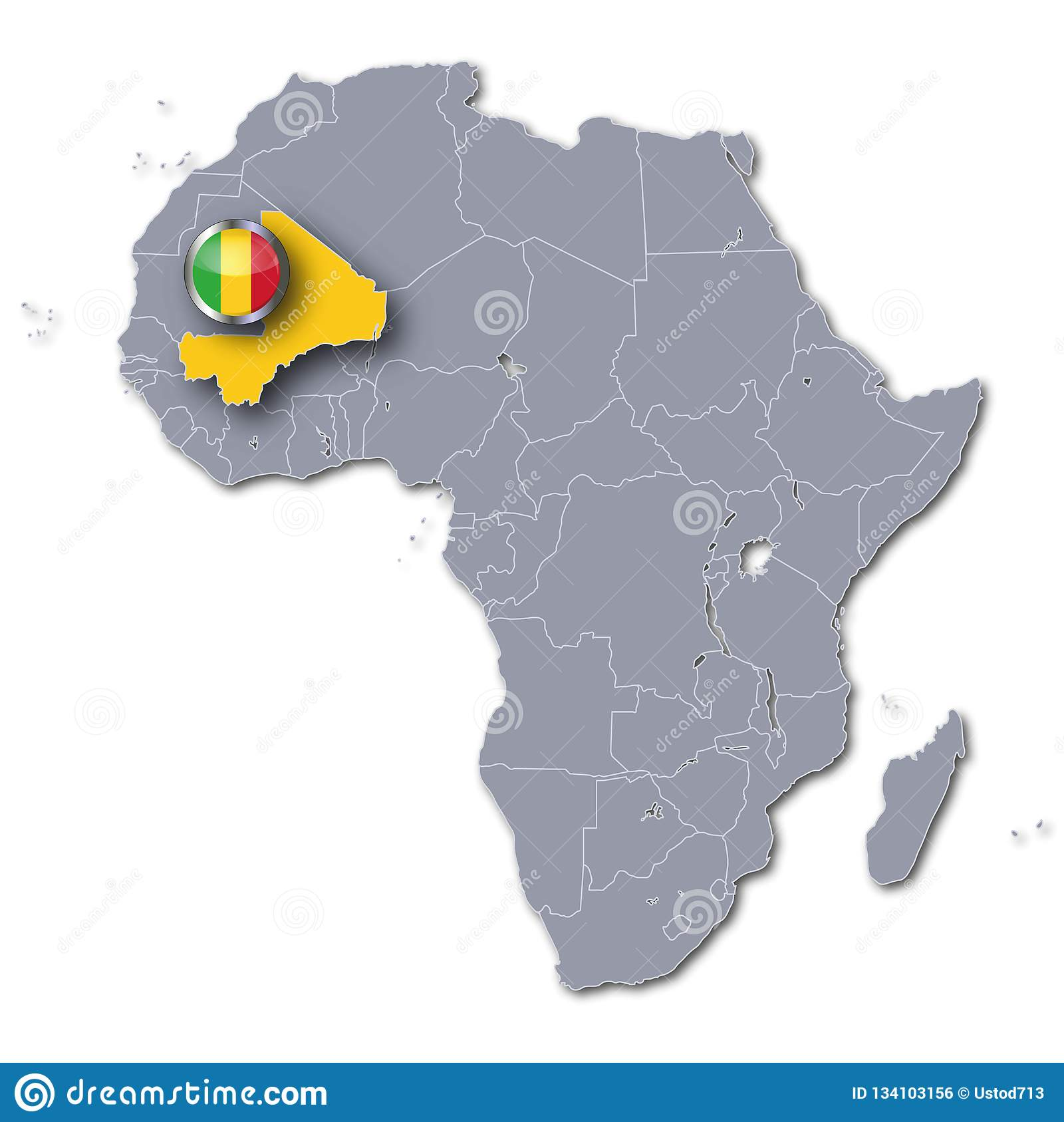 Africa Map Mali.Africa Map With Mali Stock Illustration Illustration Of