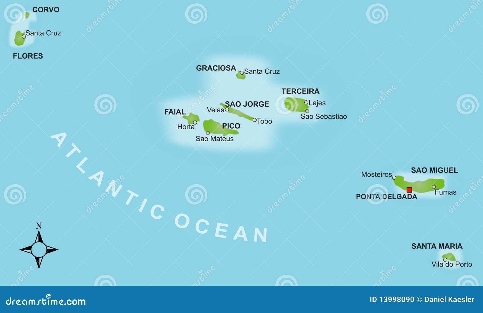 Azoren Karte Portugal.Karte Azoren Vektor Abbildung Illustration Von Pictogram 13998090